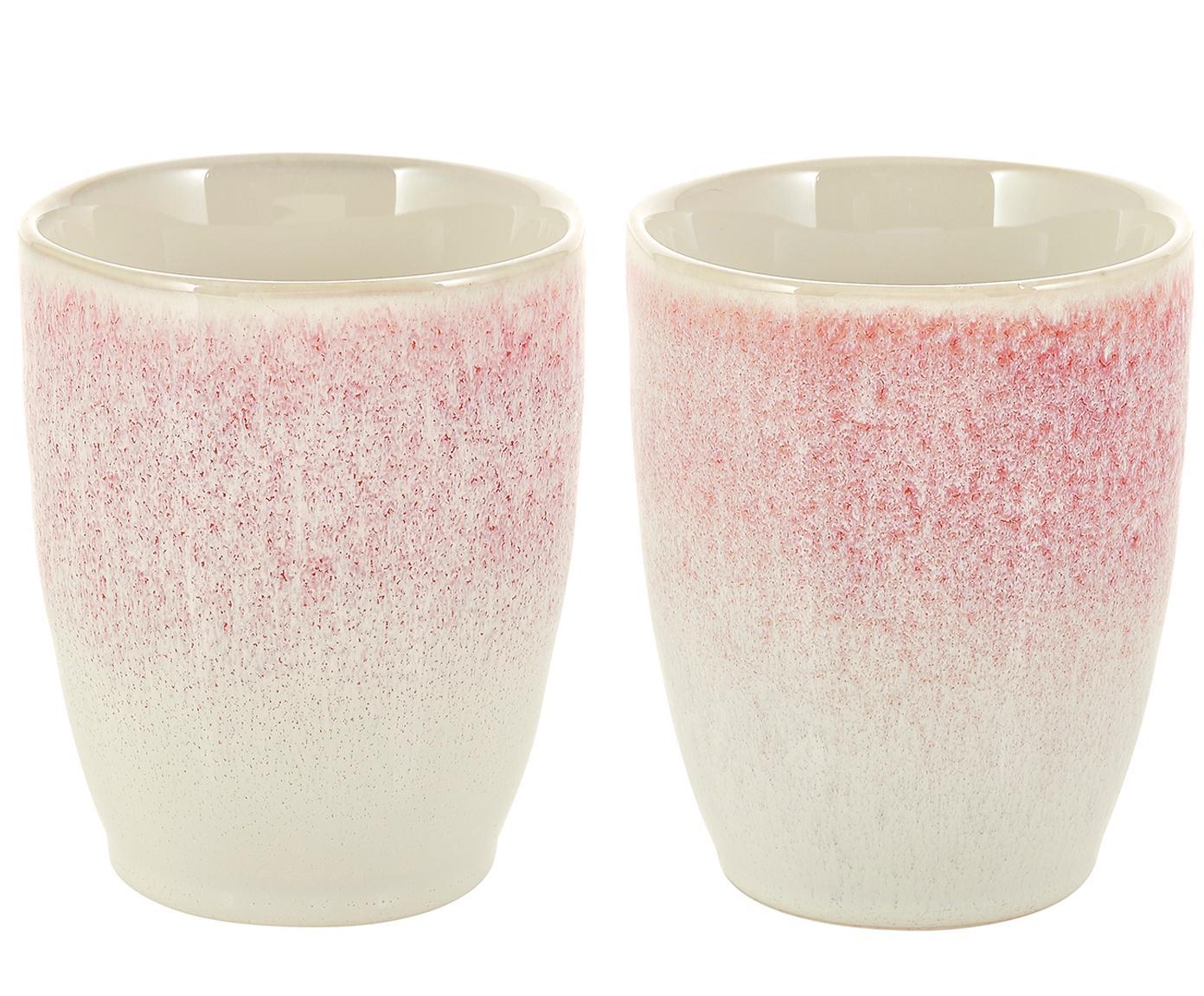 Tazza senza manico fatta a mano Amalia 2 pz, Ceramica, Rosa chiaro, bianco crema, Ø 10 x Alt. 11 cm