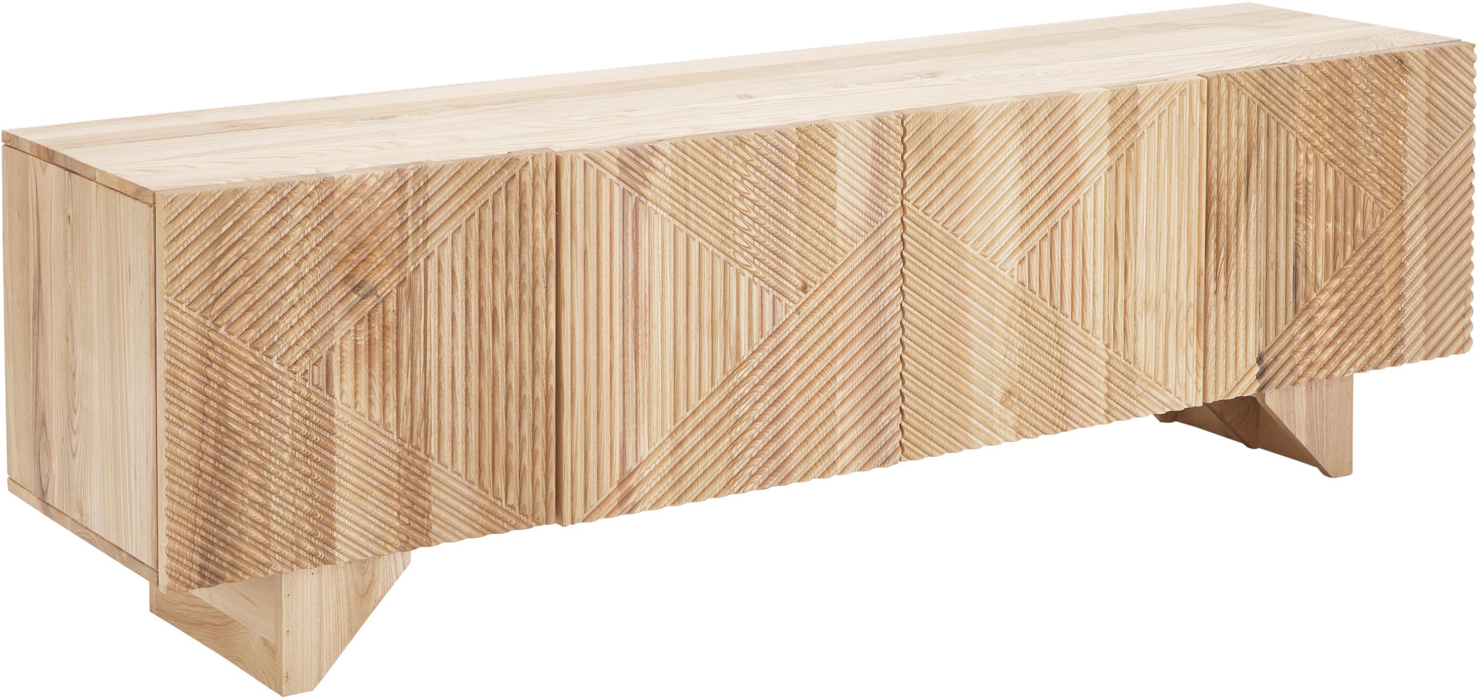 Credenza bassa in legno di frassino massiccio Louis, Legno di frassino massiccio verniciato, Legno di frassino, Larg. 180 x Alt. 55 cm