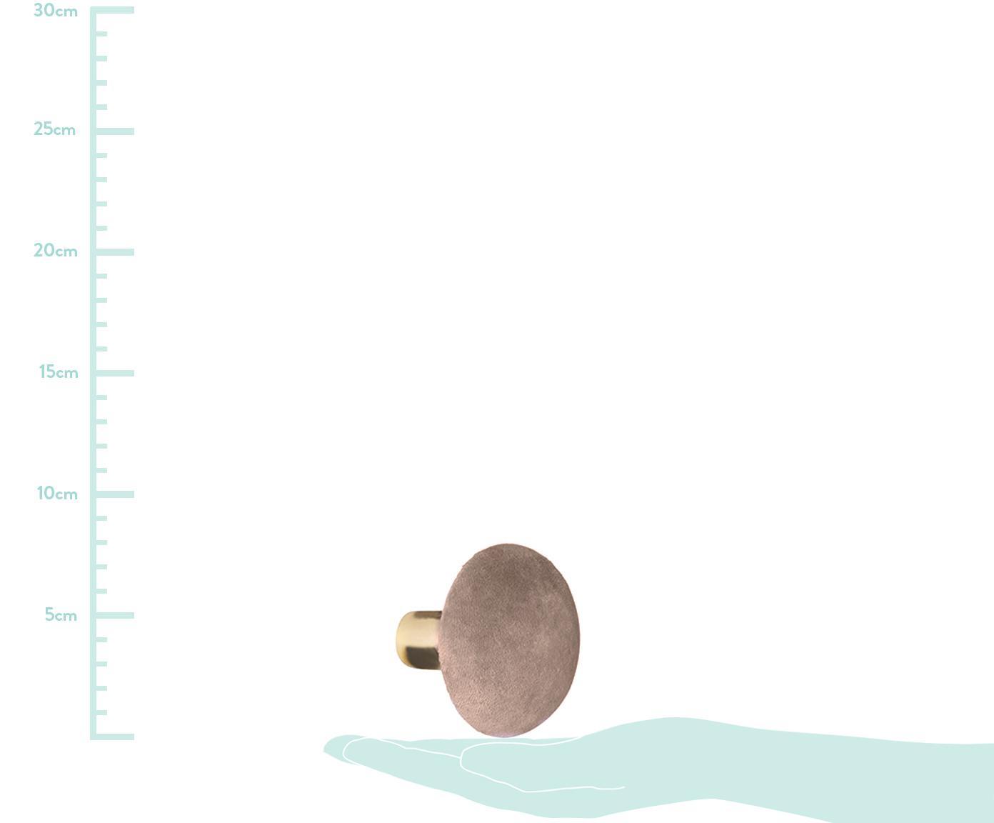 Hak ścienny z aksamitu Helene, Mocowanie: odcienie mosiądzu Przód: różowy, Ø 10 x G 8 cm