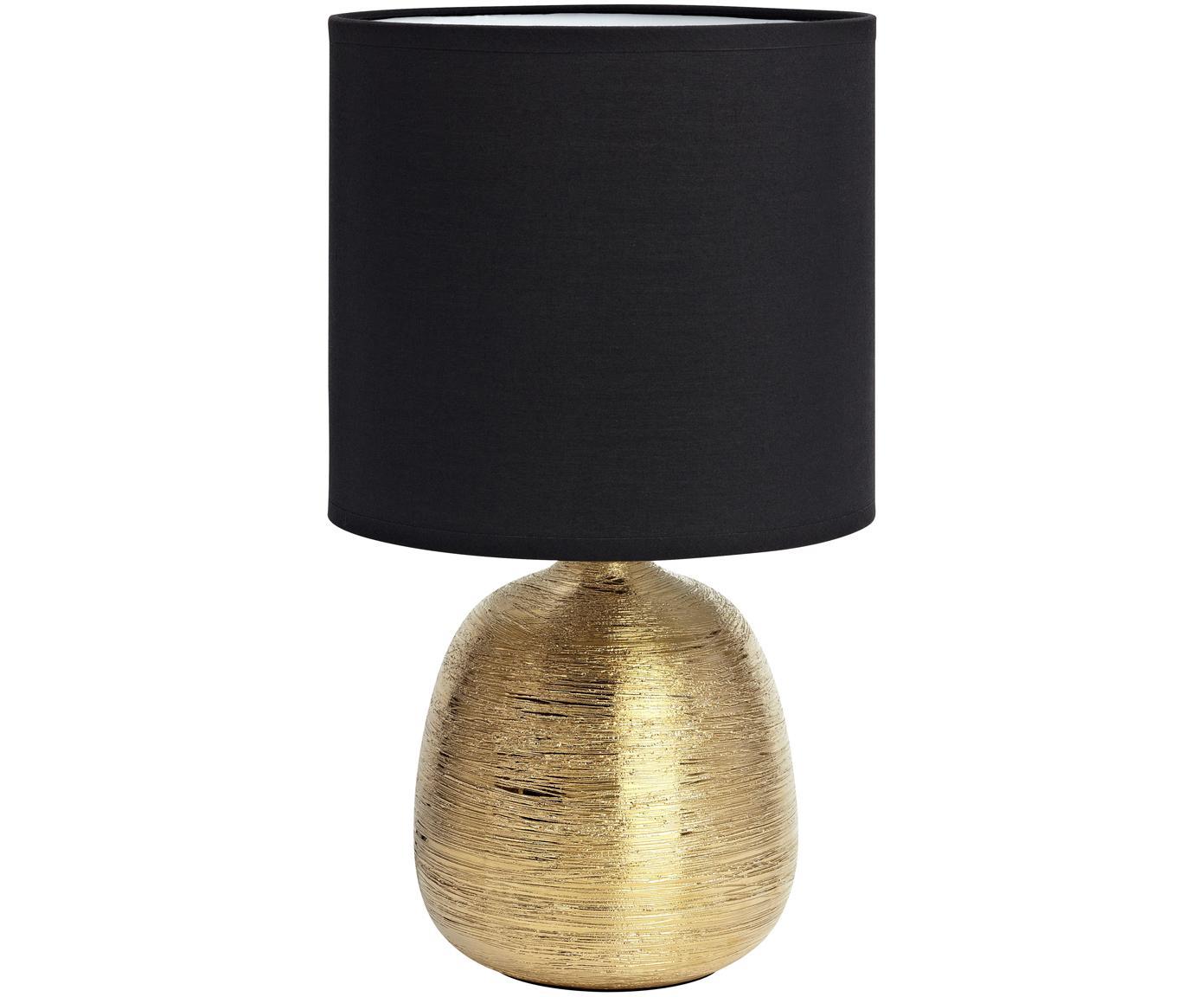 Tischleuchte Oscar in Schwarz-Gold, Lampenfuß: Keramik, Schwarz, Goldfarben, Ø 20 x H 39 cm