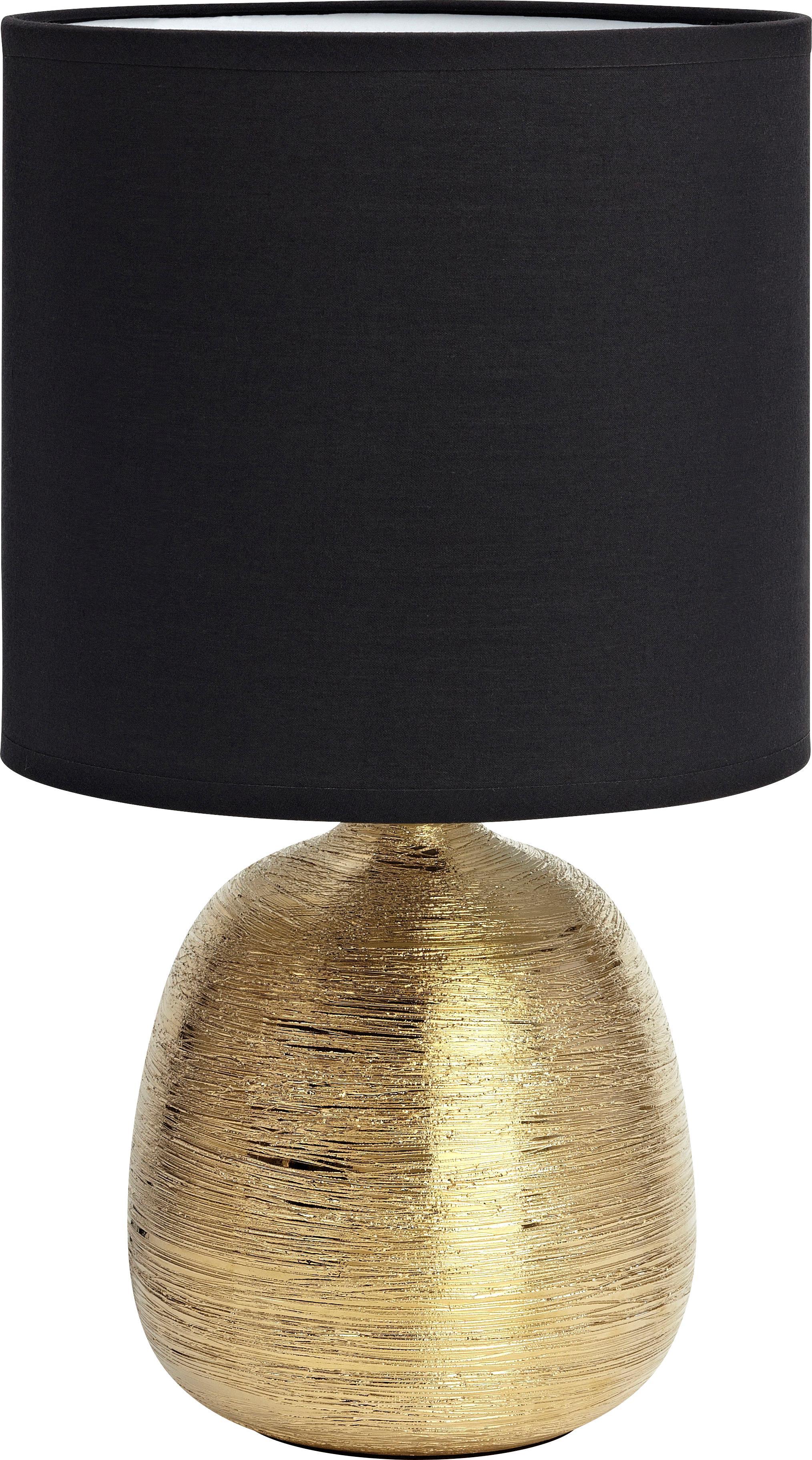 Keramik-Tischleuchte Oscar in Schwarz-Gold, Lampenfuß: Keramik, Schwarz, Goldfarben, Ø 20 x H 39 cm