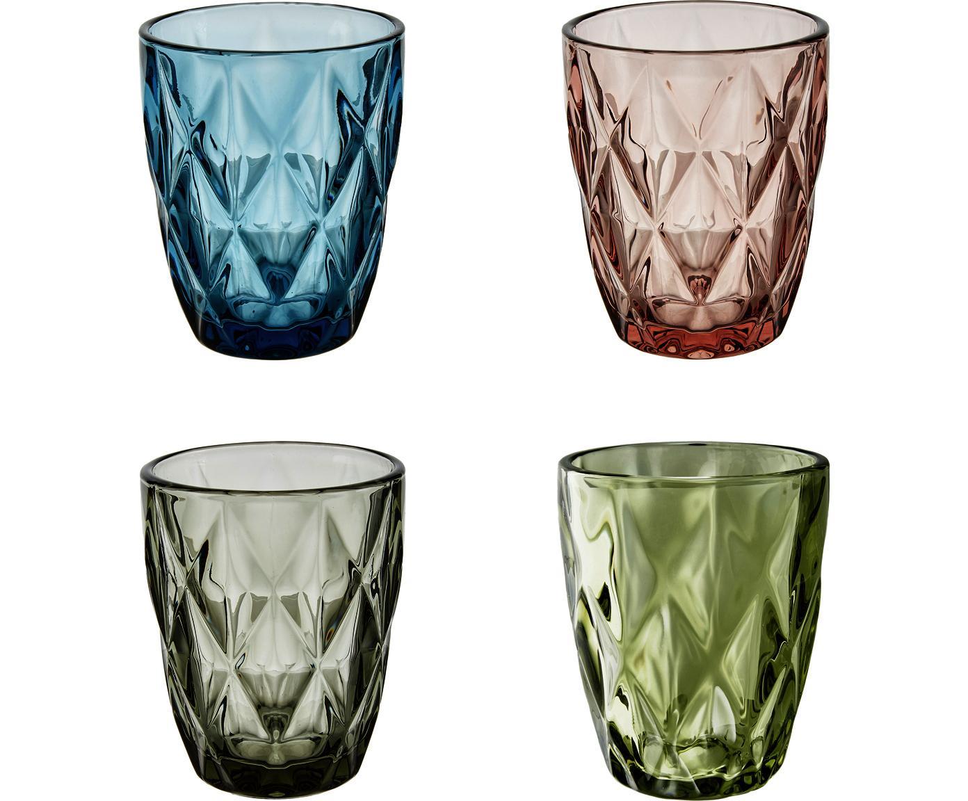Wassergläser Colorado mit Strukturmuster, 4 Stück, Glas, Grün, Rosa, Blau, Grau, ∅ 8 x H 10 cm