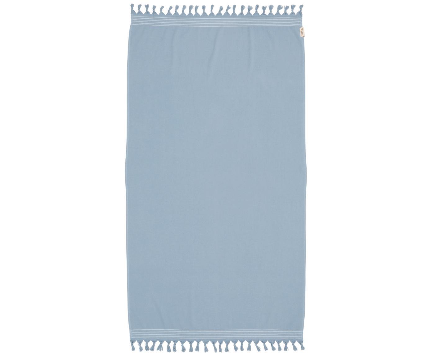 Hamamdoek Soft Cotton met achterzijde van badstof, Blauw, wit, 100 x 180 cm
