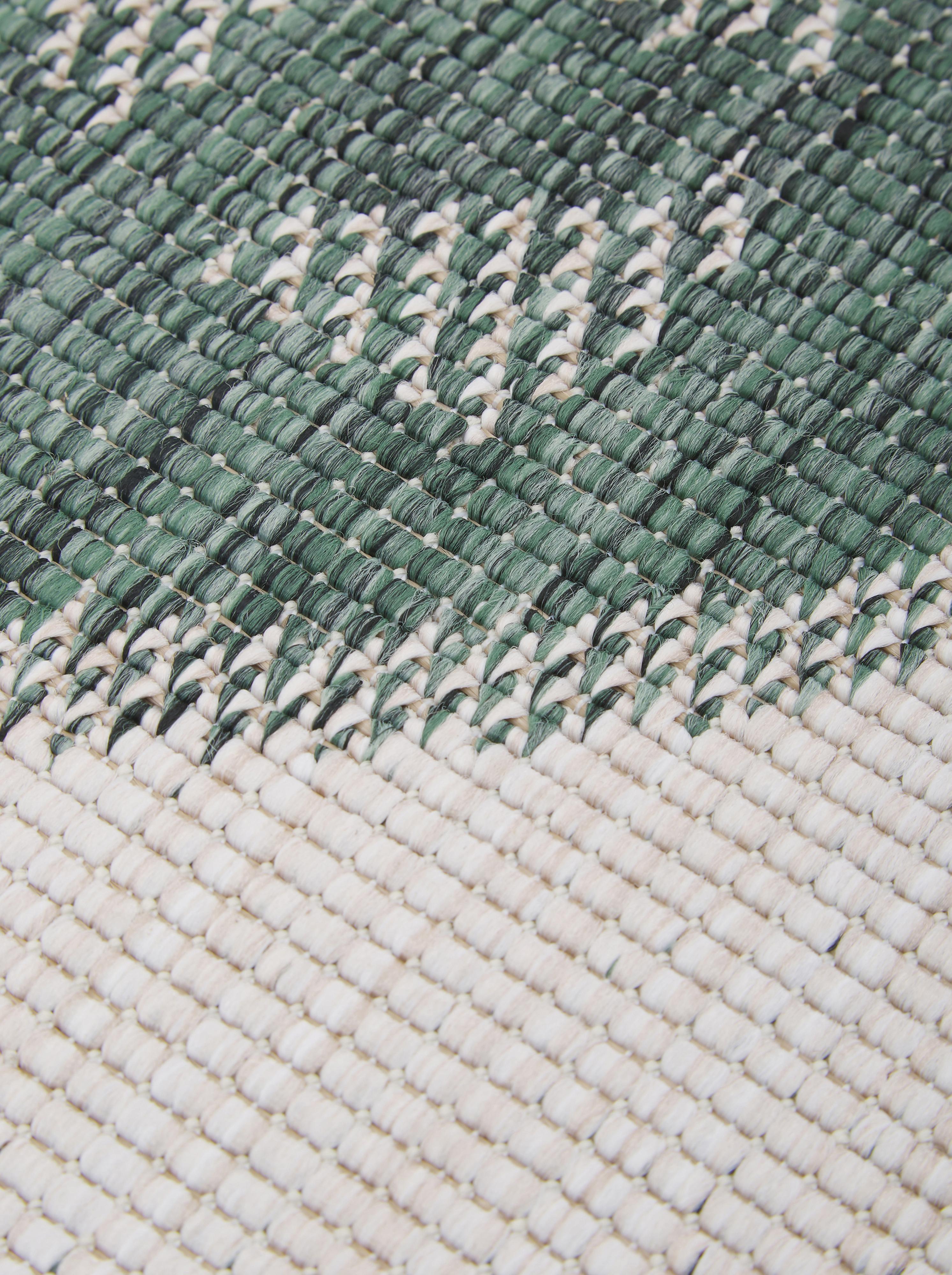 Rond dubbelzijdig in- en outdoor vloerkleed Jamaica in groen/crème kleur, Groen, crèmekleurig, Ø 200 cm (maat L)