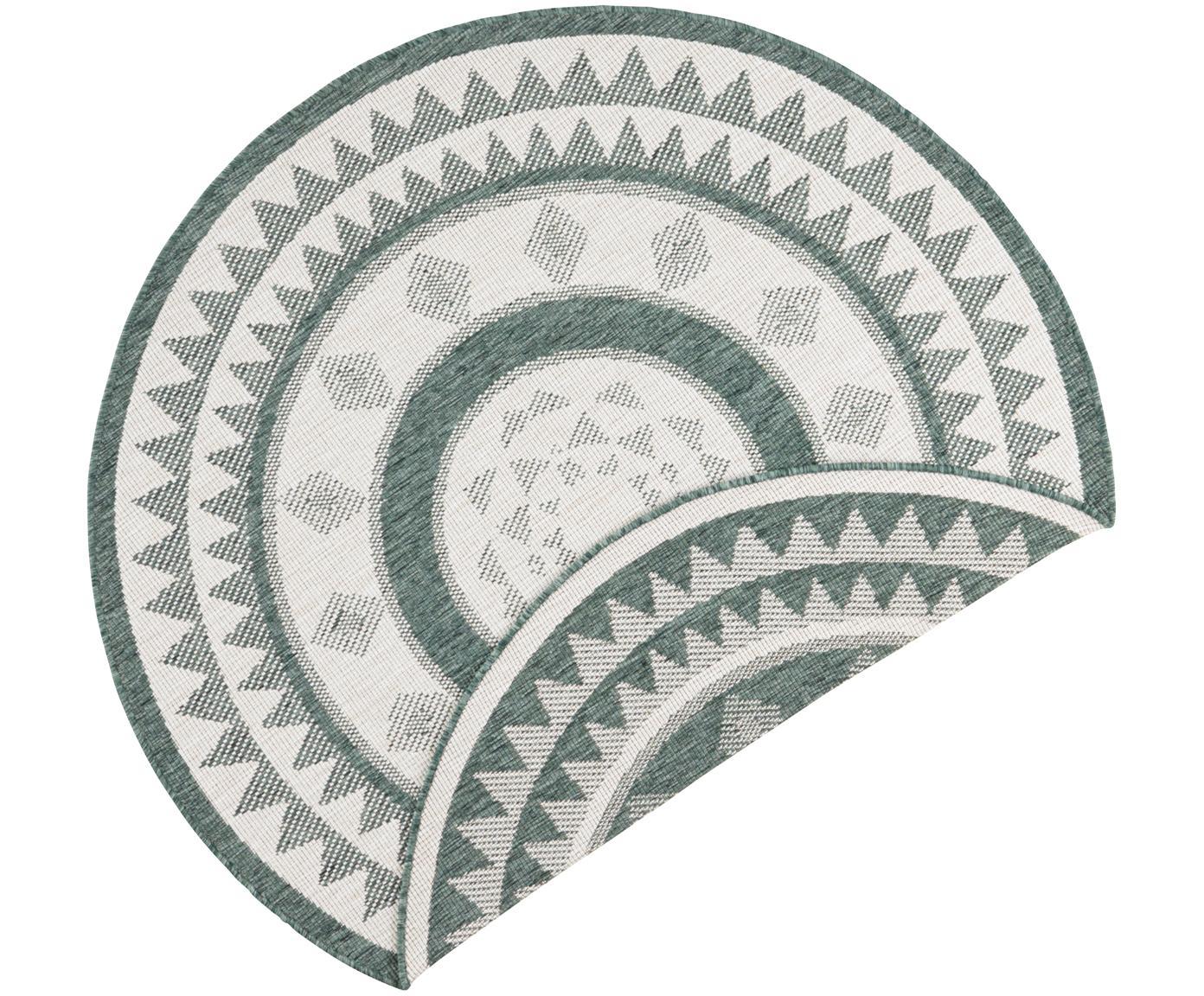 Rond dubbelzijdig in- & outdoor vloerkleed Jamaica, Groen, crèmekleurig, Ø 140 cm (maat M)