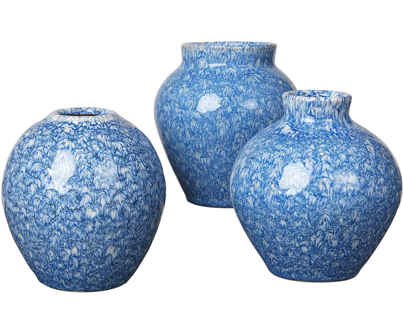 Set de jarrones de cerámica Ingrid, 3pzas., Cerámica, Tonos azules, Ø 14 x Al 14 cm