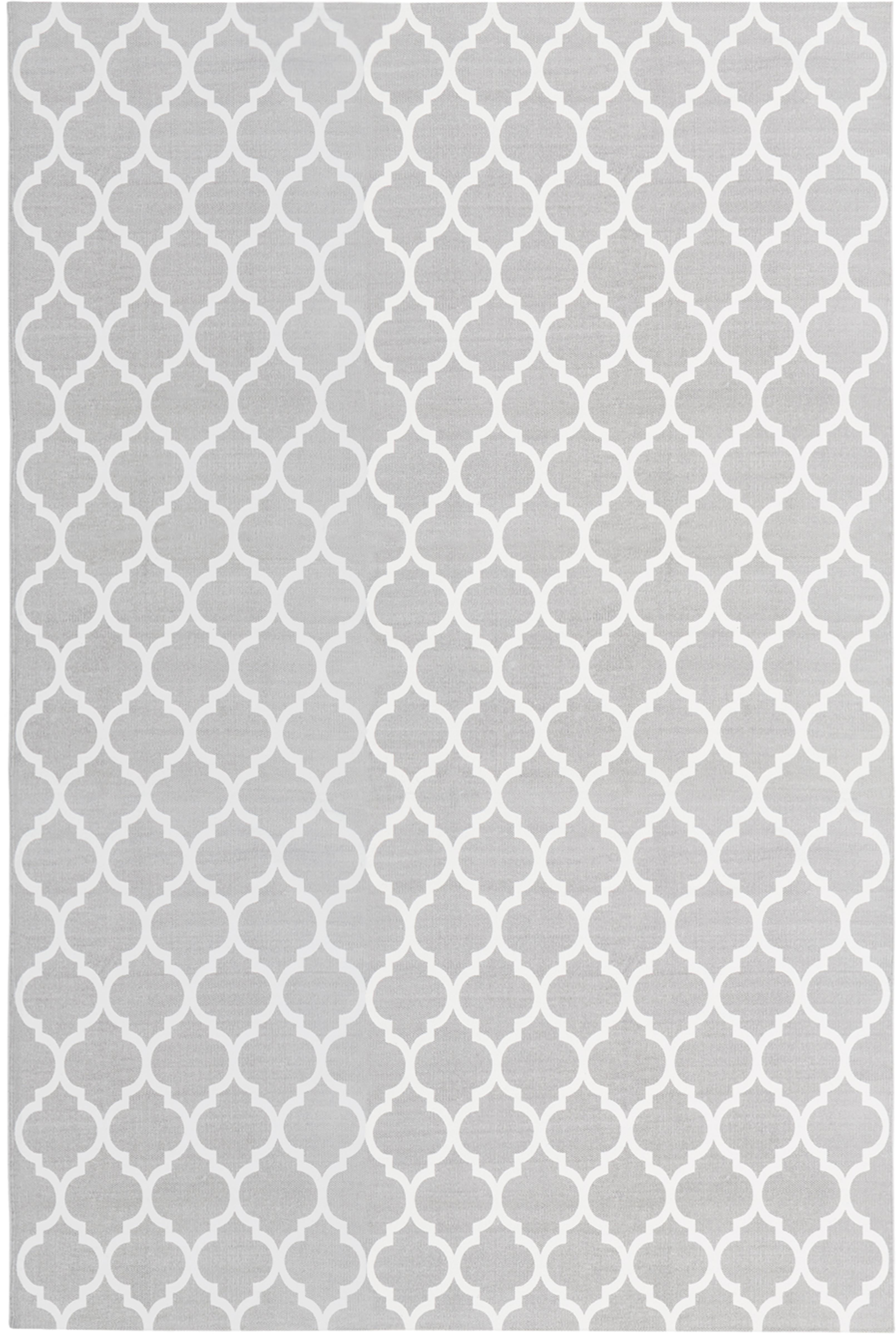 Flachgewebter Baumwollteppich Amira in Grau/Weiß, 100% Baumwolle, Hellgrau, Cremeweiß, B 200 x L 300 cm (Größe L)