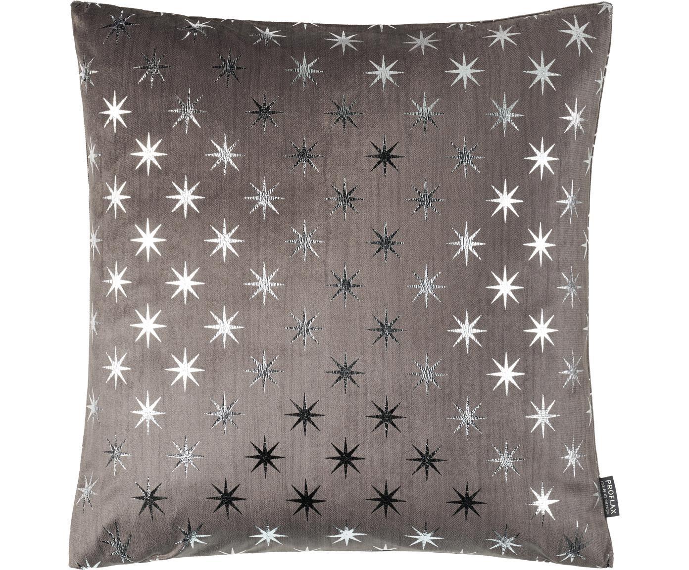 Kussenhoes Cosmos met zilveren sterren, Polyester, Grijs, zilverkleurig, 40 x 40 cm