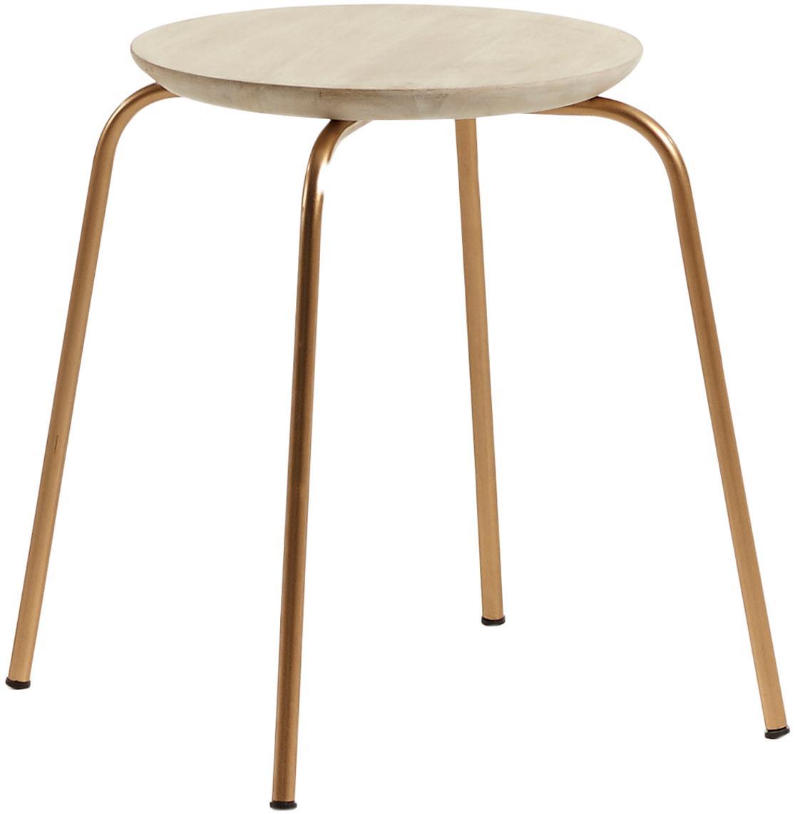 Stołek do układania w stos Ren, Nogi: metal lakierowany, Drewno mangowe, odcienie złotego, Ø 40 x W 45 cm
