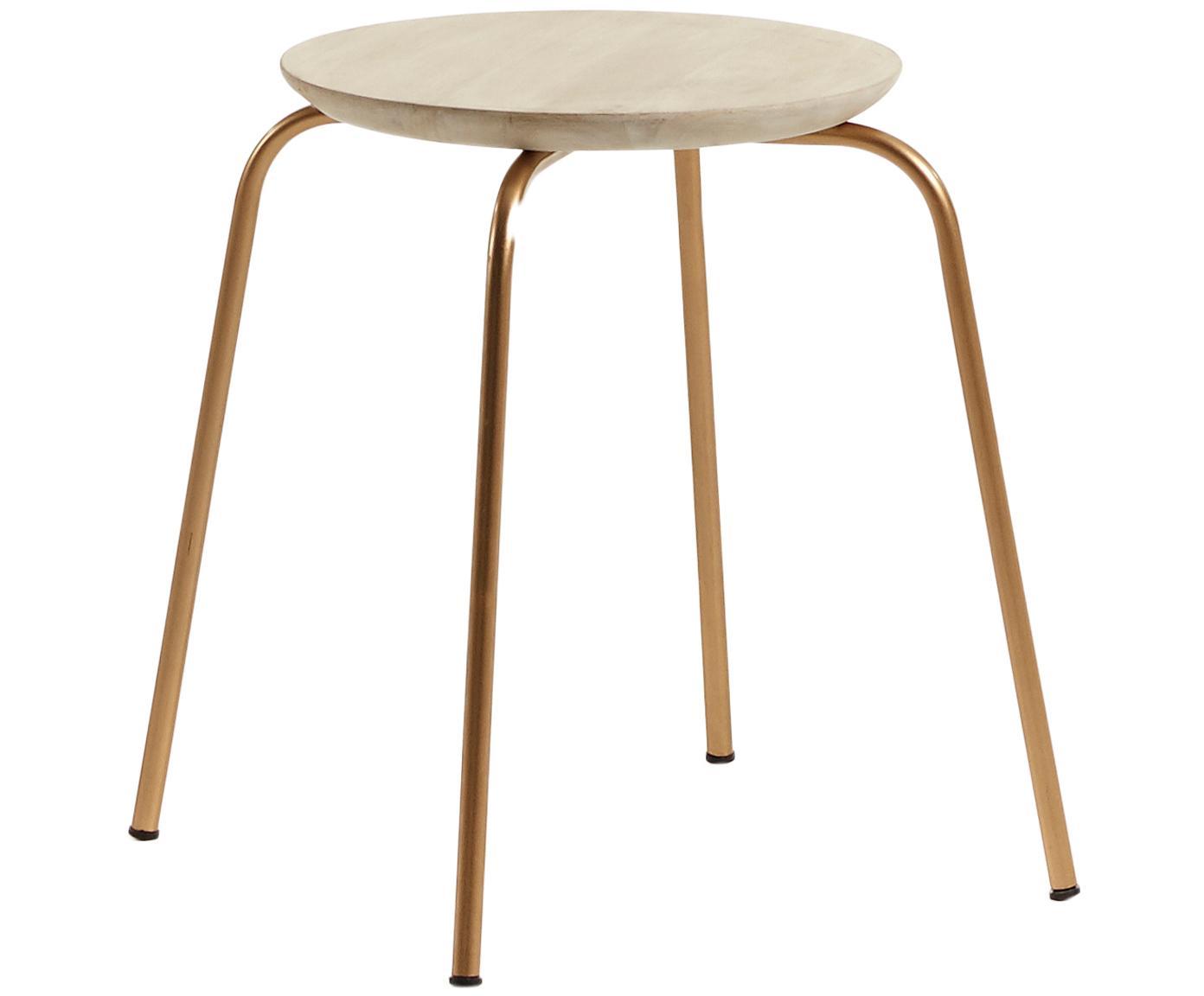 Sgabello impilabile Ren, Seduta: legno di mango, naturale, Gambe: metallo, verniciato, Legno di mango, oro, Ø 40 x Alt. 45 cm