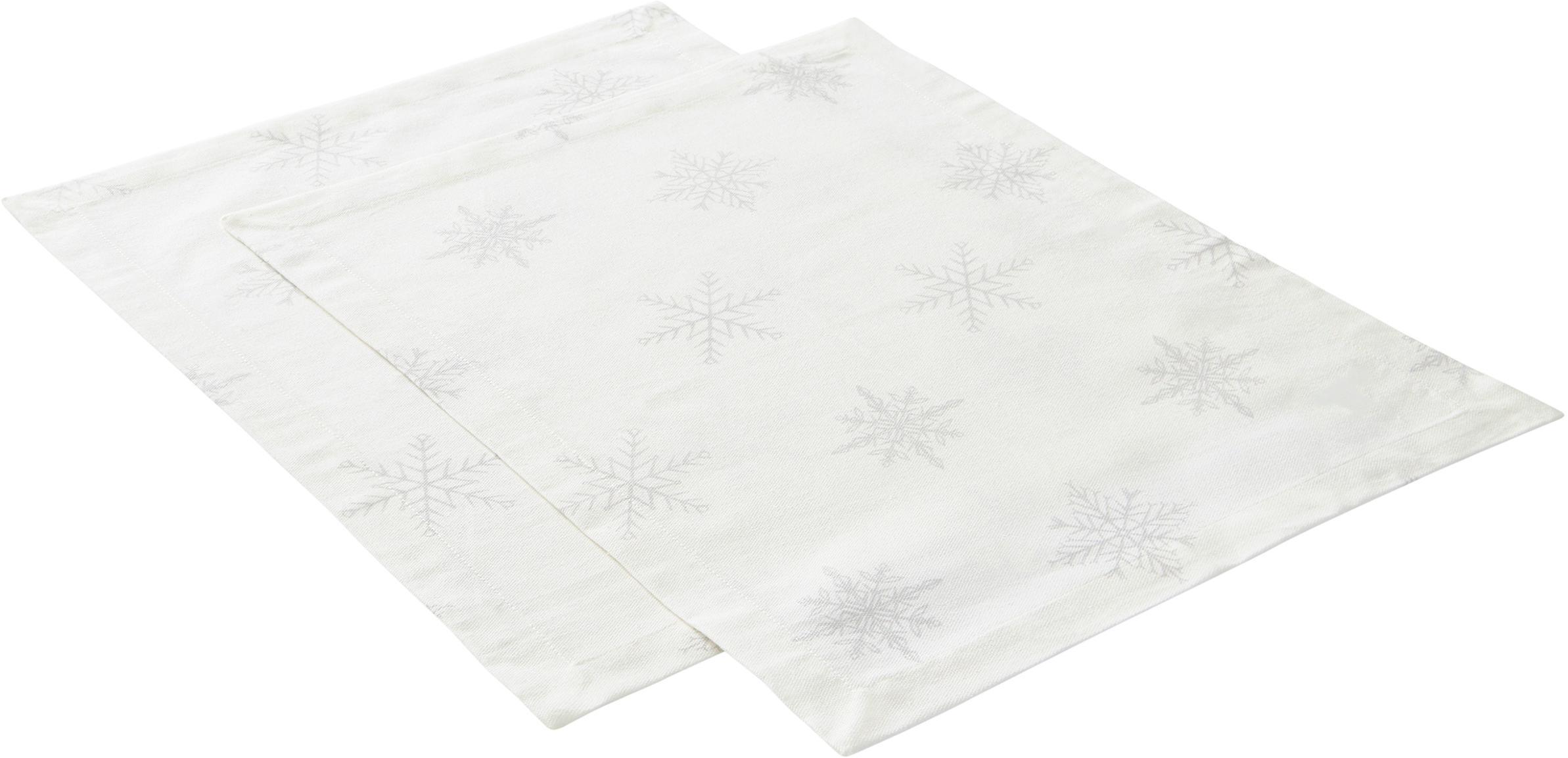 Placemats Snow, 2 stuks, 100% katoen, afkomstig van duurzame katoenteelt, Crèmewit, lichtgrijs, 35 x 45 cm