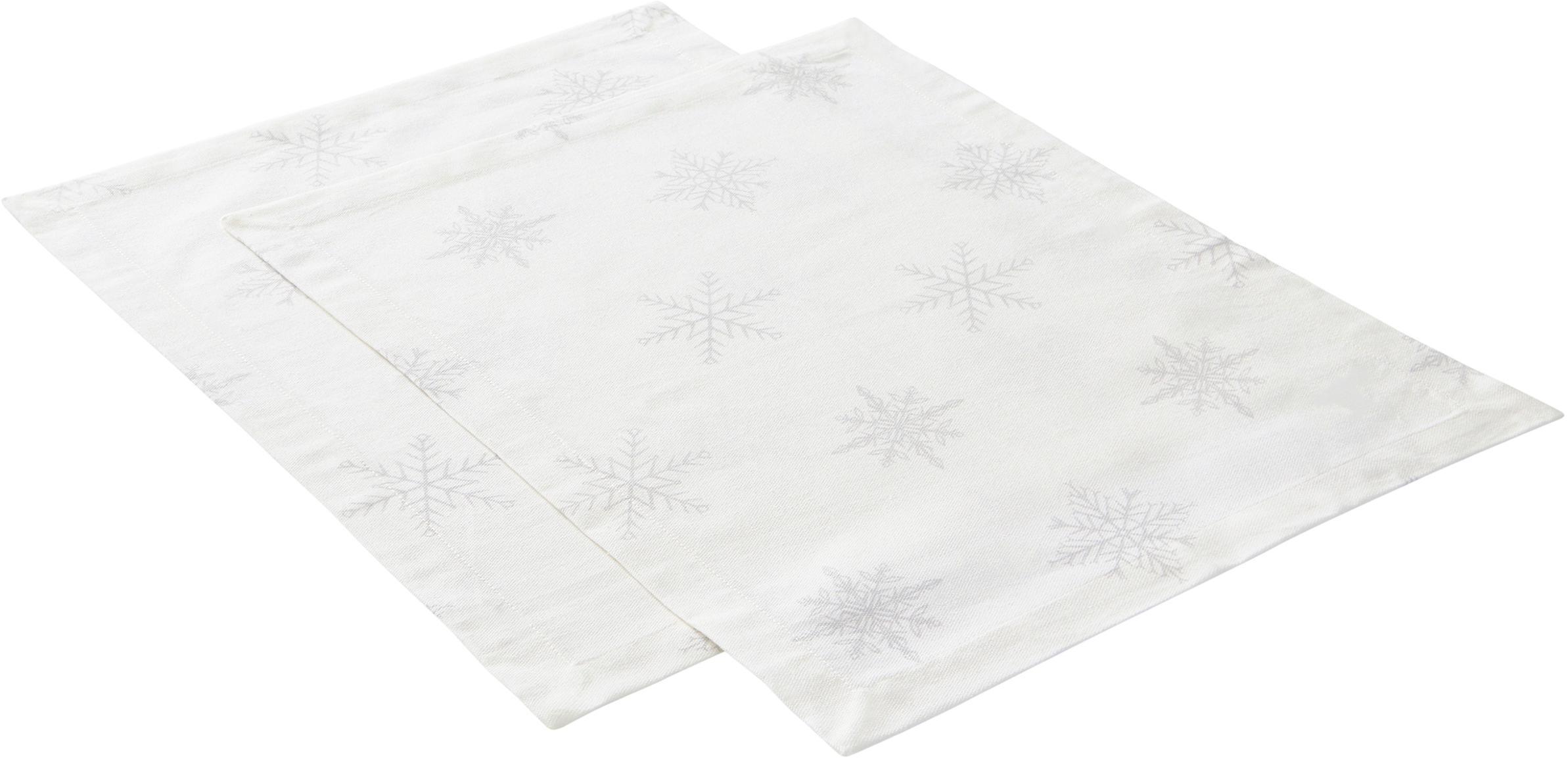 Tovaglietta Snow 2 pz, 100% cotone da coltivazione sostenibile, Bianco crema, grigio chiaro, Larg. 35 x Lung. 45 cm