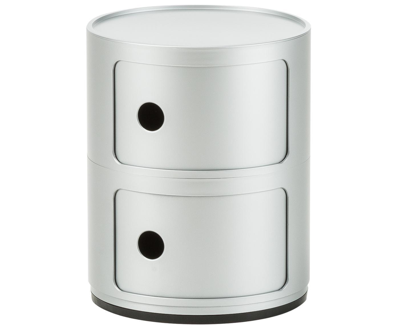 Mały stolik pomocniczy Componibile, Tworzywo sztuczne, Odcienie srebrnego, Ø 32 x W 40 cm