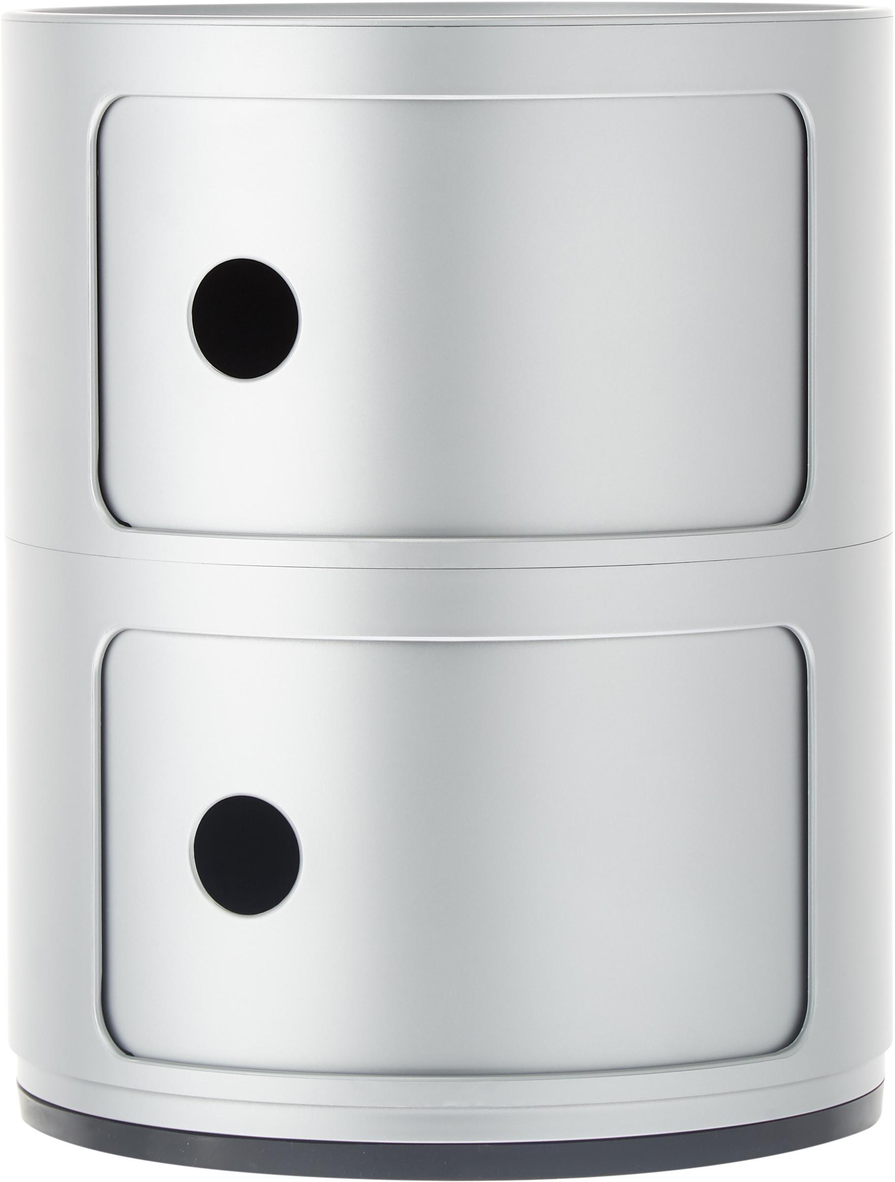 Pequeña mesa auxiliar de diseño Componibile, Plástico, Plateado, Ø 32 x Al 40 cm