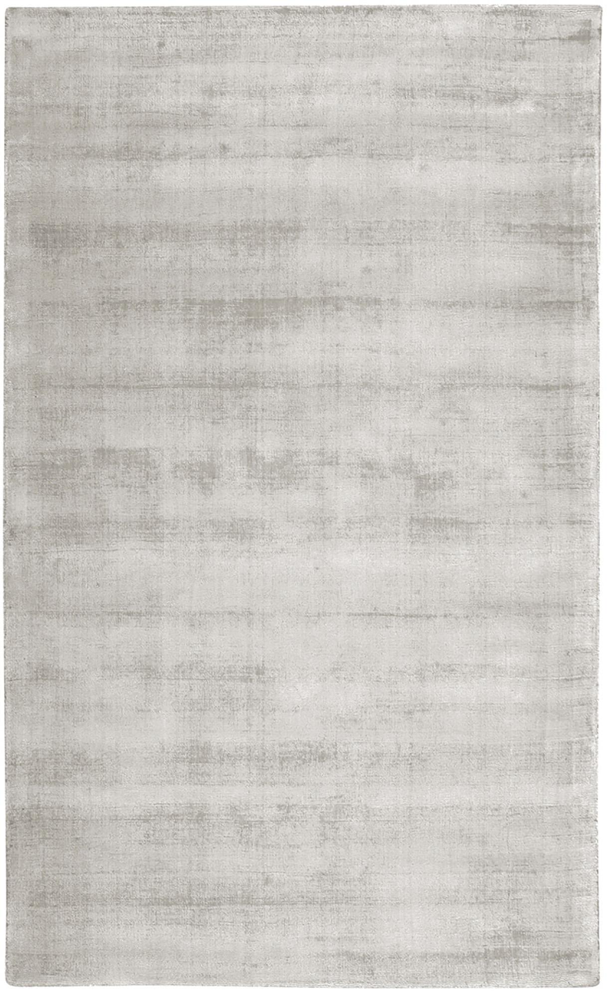 Handgewebter Viskoseteppich Jane in Hellgrau-Beige, Flor: 100% Viskose, Hellgrau-Beige, B 90 x L 150 cm (Größe XS)