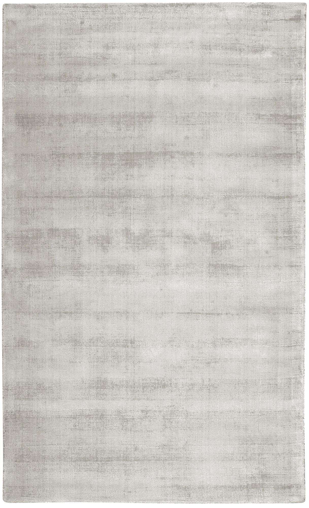 Tappeto in viscosa tessuto a mano Jane, Retro: 100% cotone, Grigio chiaro-beige, Larg. 90 x Lung. 150 cm (taglia XS)