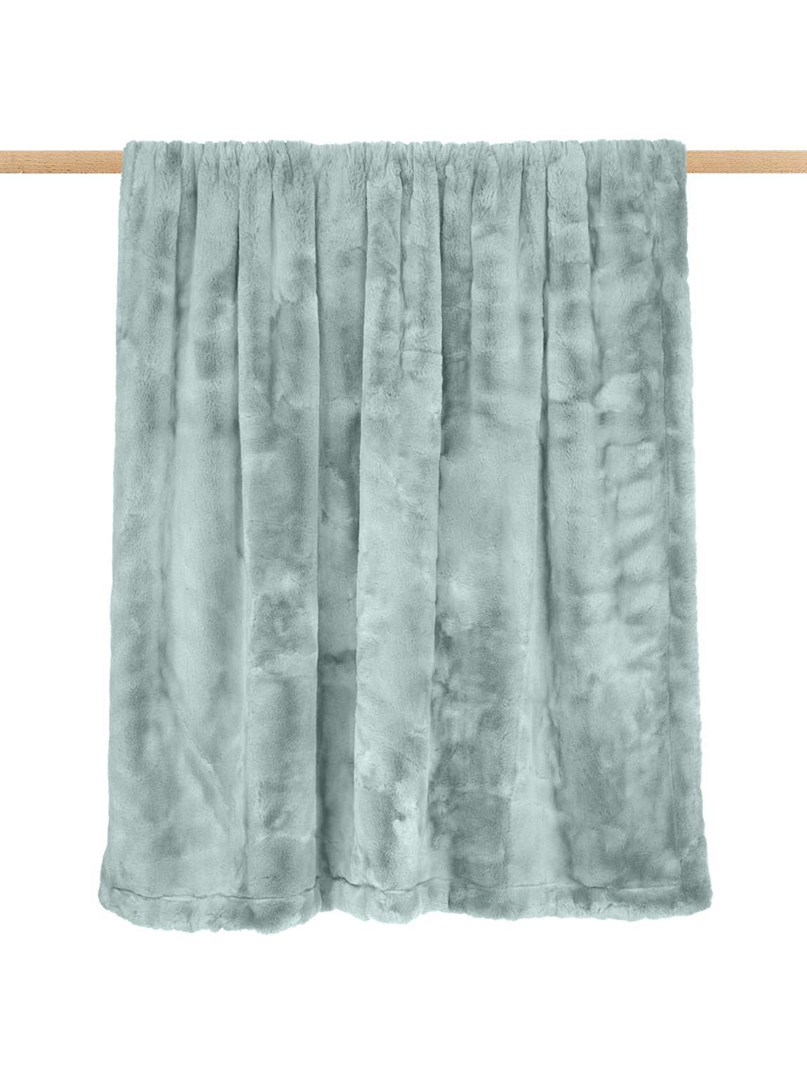 Plaid van imitatievacht Mette, glad, Groen, 150 x 200 cm