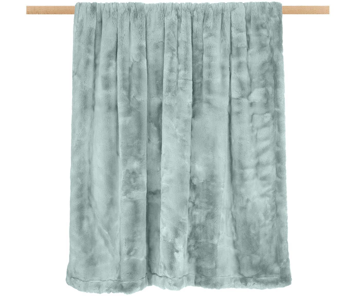 Kunstfell-Plaid Mette, glatt, Vorderseite: 100% Polyester, Rückseite: 100% Polyester, Grün, 150 x 200 cm