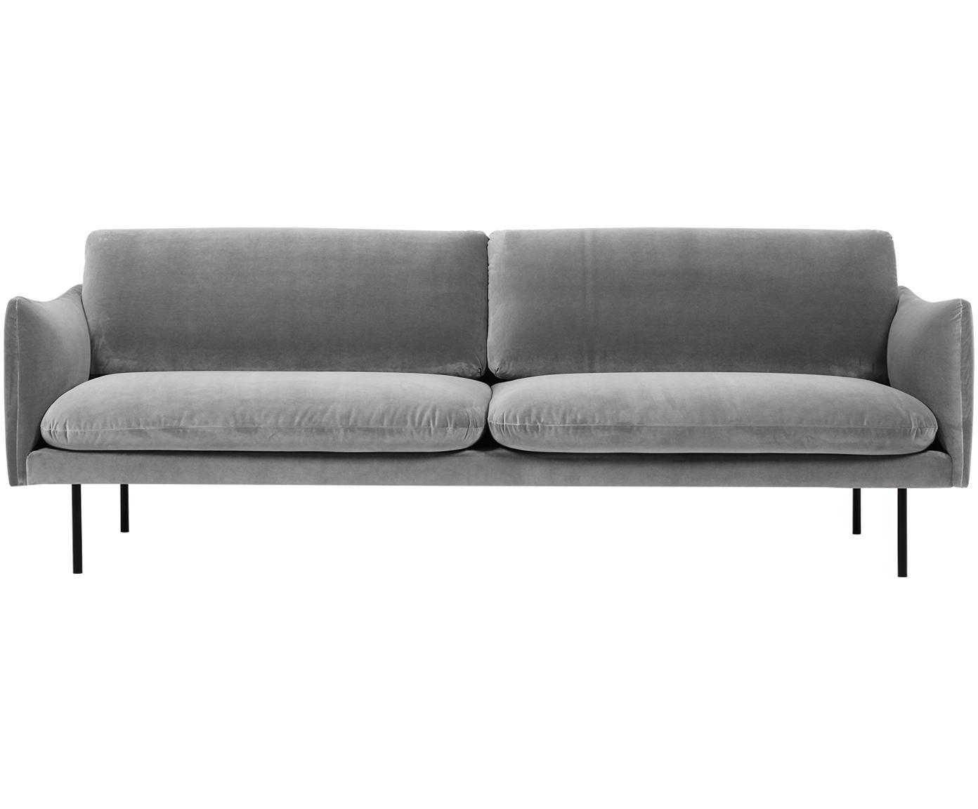 Sofa z aksamitu Moby (3-osobowa), Tapicerka: aksamit (wysokiej jakości, Stelaż: lite drewno sosnowe, Nogi: metal malowany proszkowo, Szary, S 220 x G 95 cm