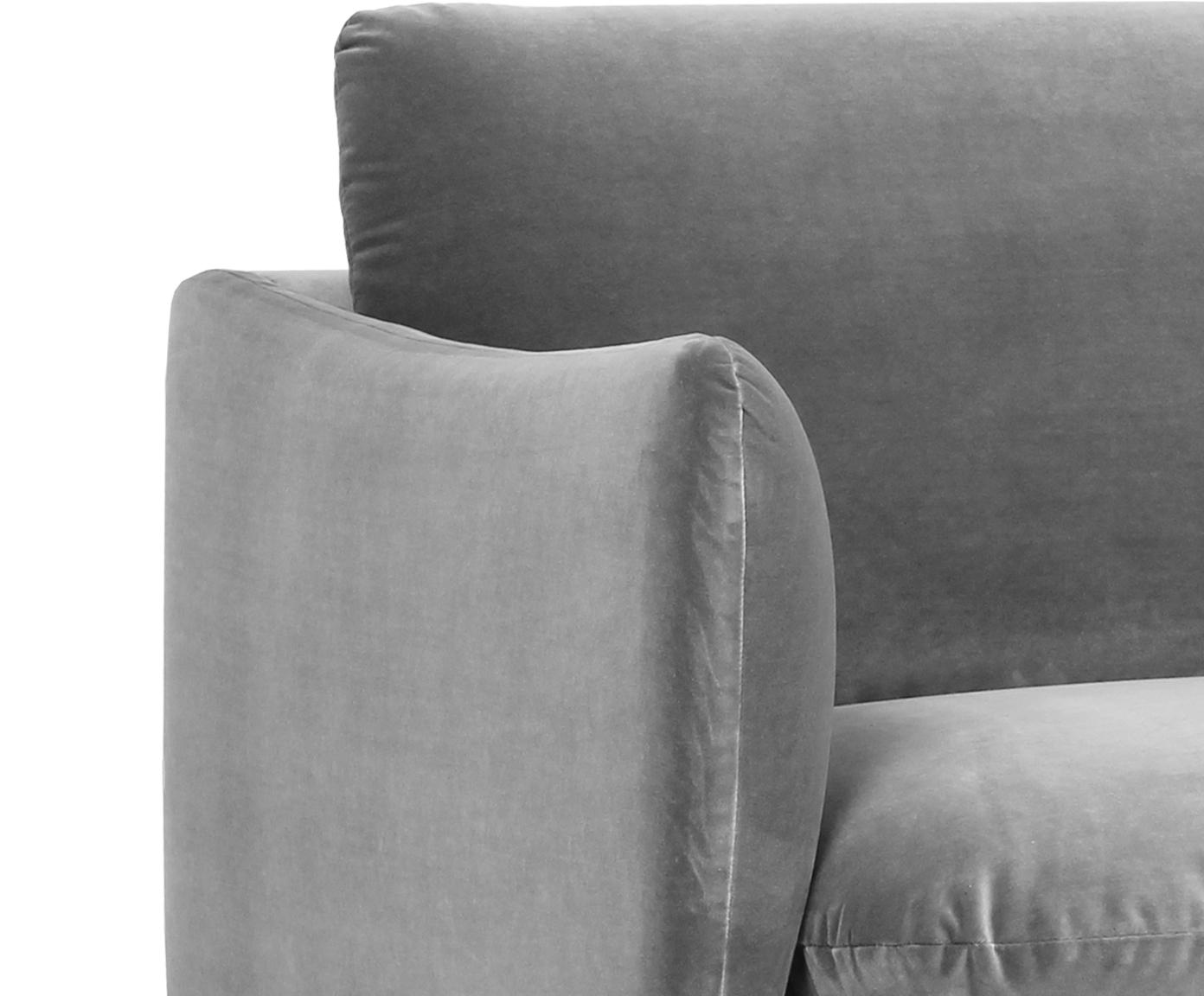 Fluwelen bank Moby (3-zits), Bekleding: fluweel (hoogwaardige pol, Frame: massief grenenhout, Poten: gepoedercoat metaal, Grijs, B 220 x D 95 cm