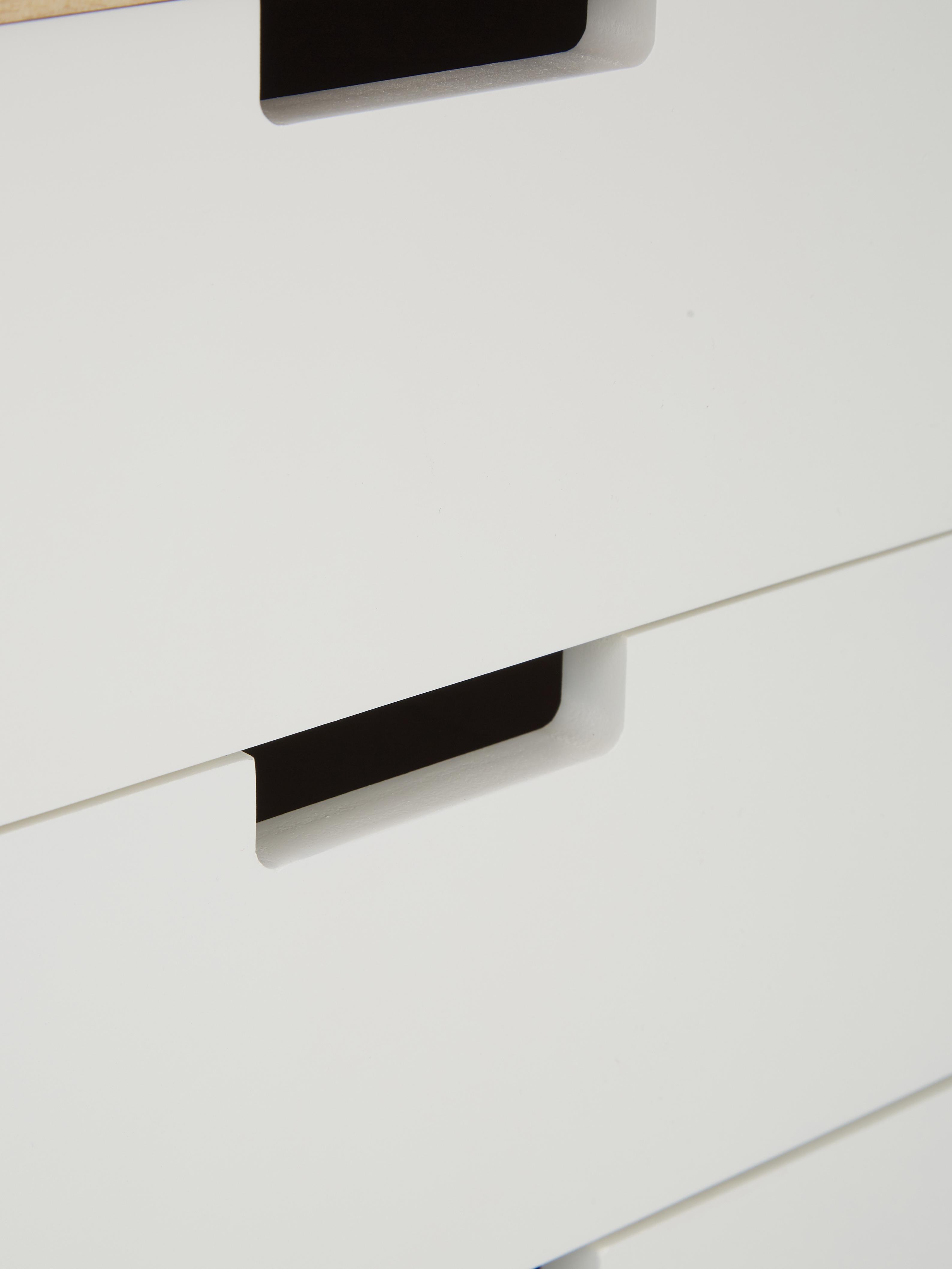 Schubladenkommode Milano, Korpus: Mitteldichte Holzfaserpla, Weiss, Paulowniaholz, 79 x 65 cm