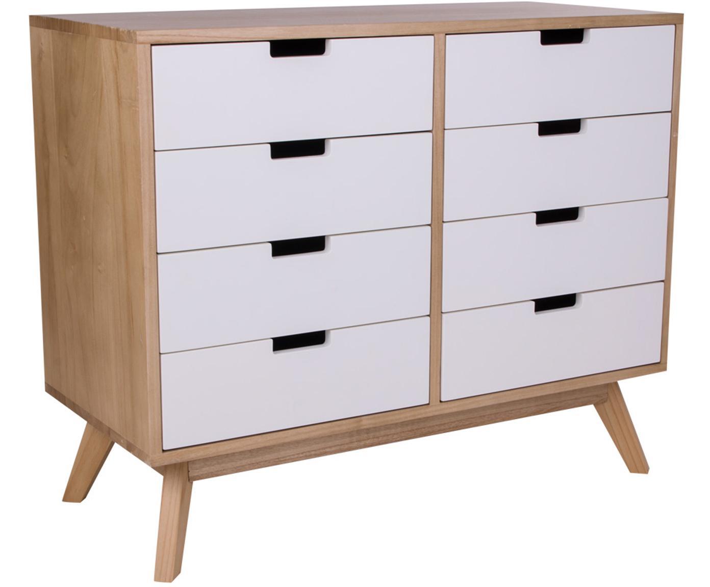 Szafka z szufladami Milano, Drewno paulownia, płyta pilśniowa średniej gęstości (MDF), Biały, drewno paulownia, S 79 x W 65 cm