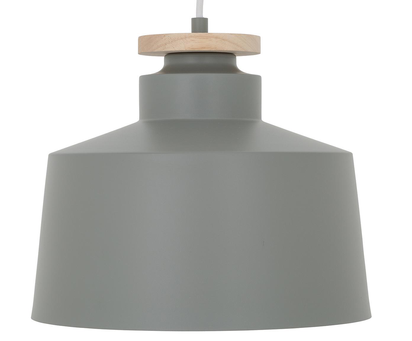 Skandi-Pendelleuchte Malm, Lampenschirm: Metall, Holz, Baldachin: Metall, Grau, Ø 30 x H 26 cm