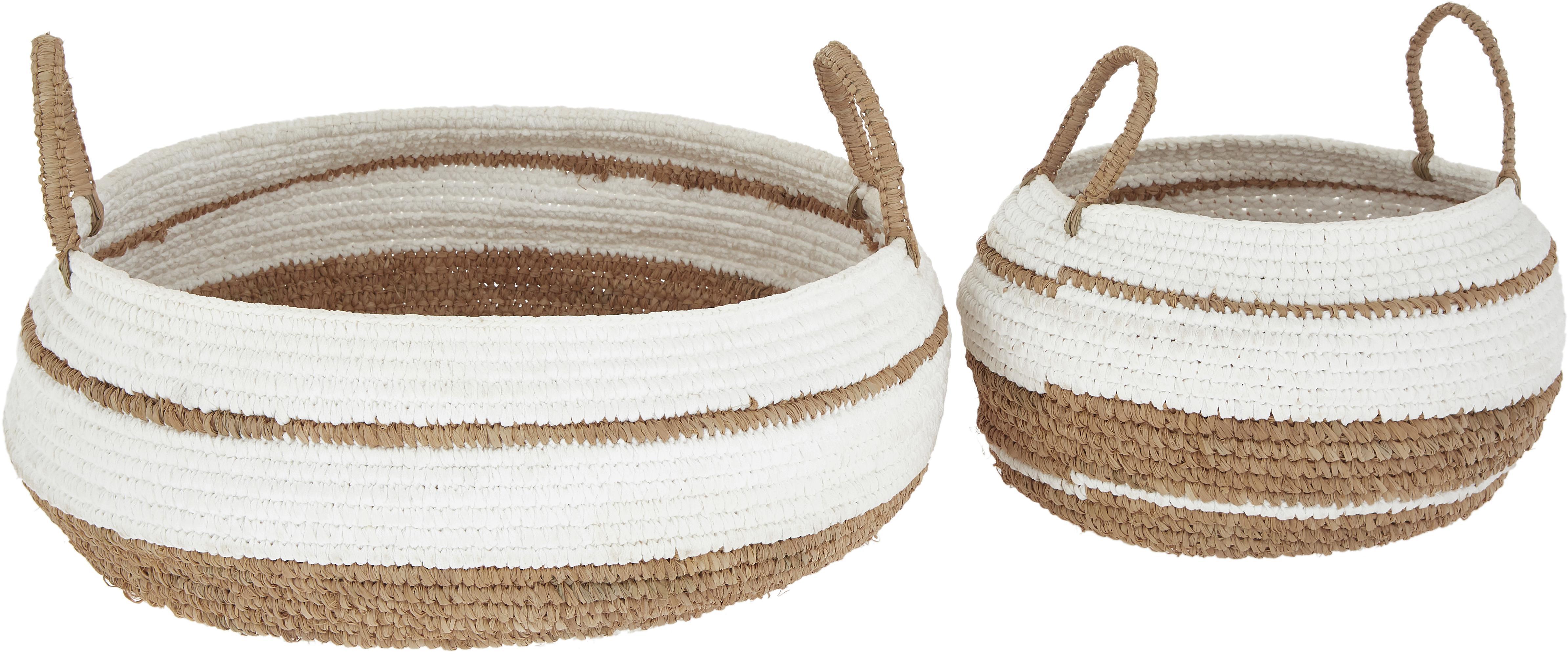 Set de cestas Ibiza, 2pzas., Cuerda de rafia, Marrón, blanco, Set de diferentes tamaños