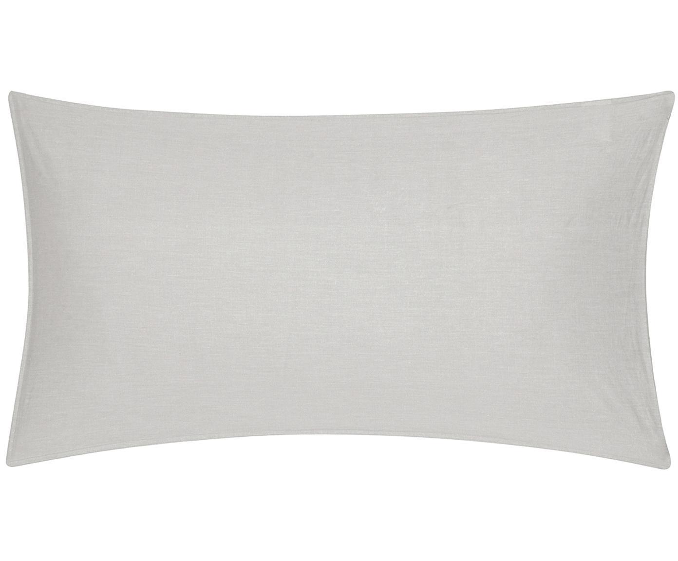Poszewka na poduszkę z bawełny z efektem sprania Arlene, 2 szt., Jasny szarobeżowy, S 40 x D 80 cm