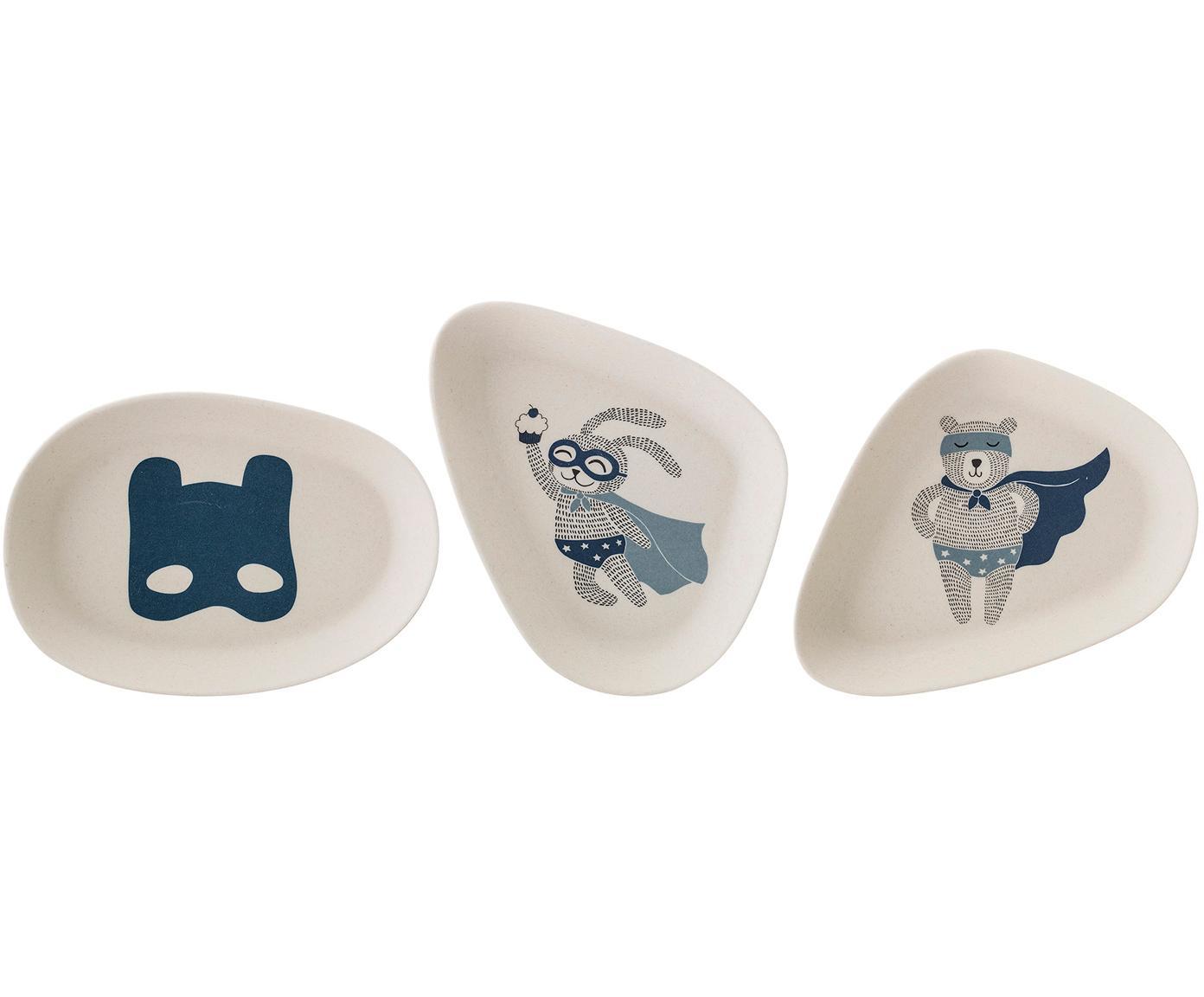 Platos infantiles Superhero, Bambú, melamina, Blanco, An 11 x L 15 cm