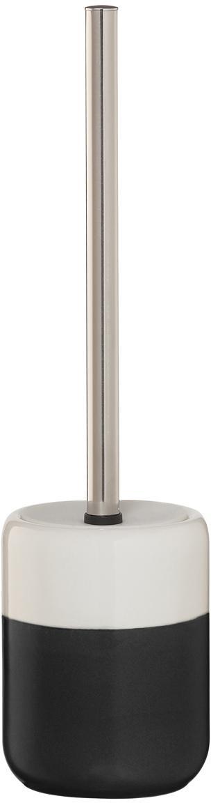Escobilla de baño Sphere, Recipiente: porcelana, Recipiente: negro, blanco Escobilla: acero inoxidable, Ø 10 x Al 38 cm