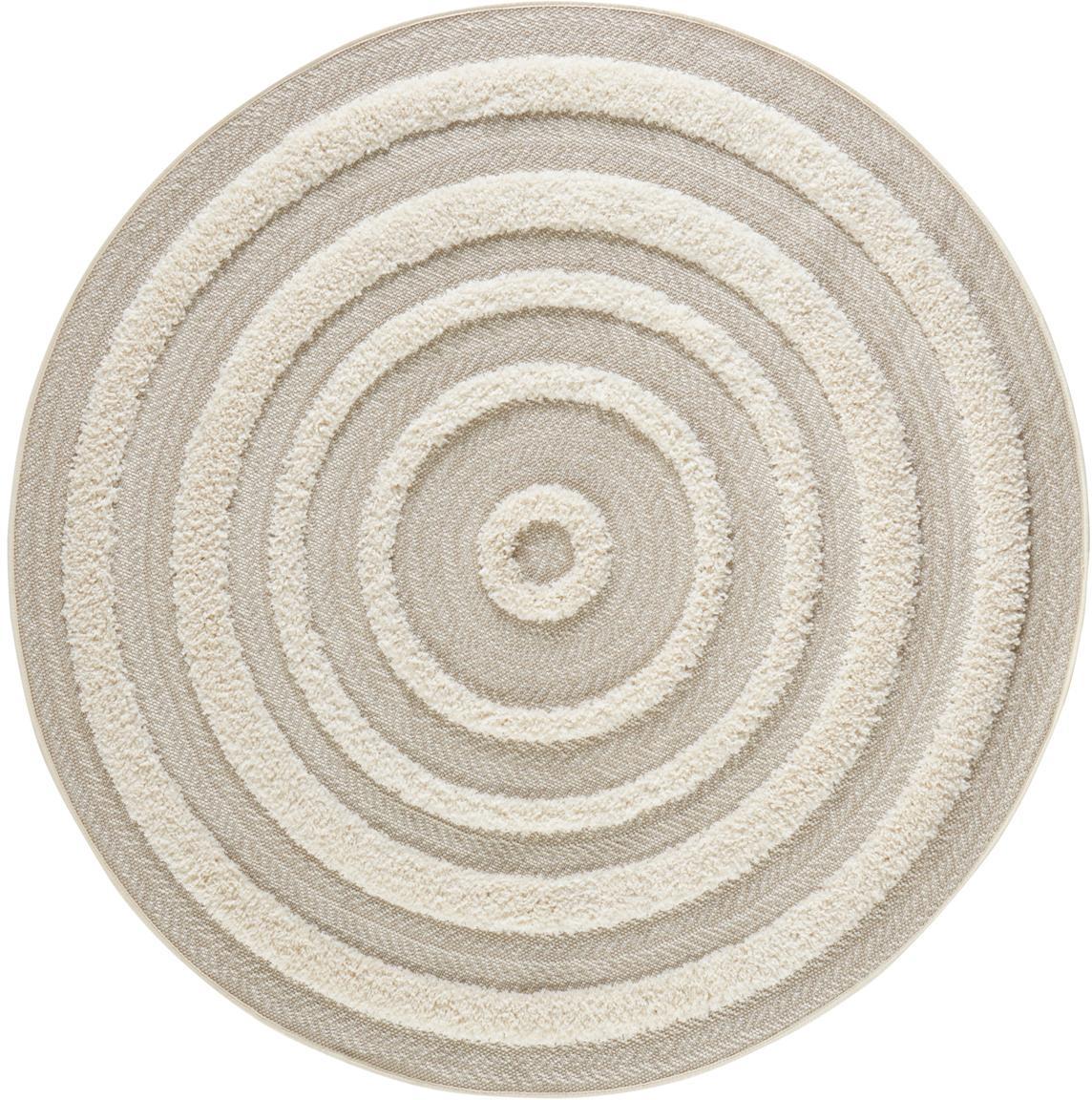 Runder In- & Outdoor-Teppich Nador mit Hoch-Tief-Effekt, Beige, Cremefarben, Ø 160 cm (Grösse L)