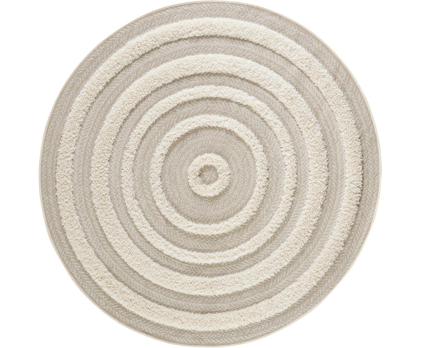 Rond vloerkleed Nador met hoog-laag patroon, Polypropyleen, Beige, crèmekleurig, Ø 160 cm