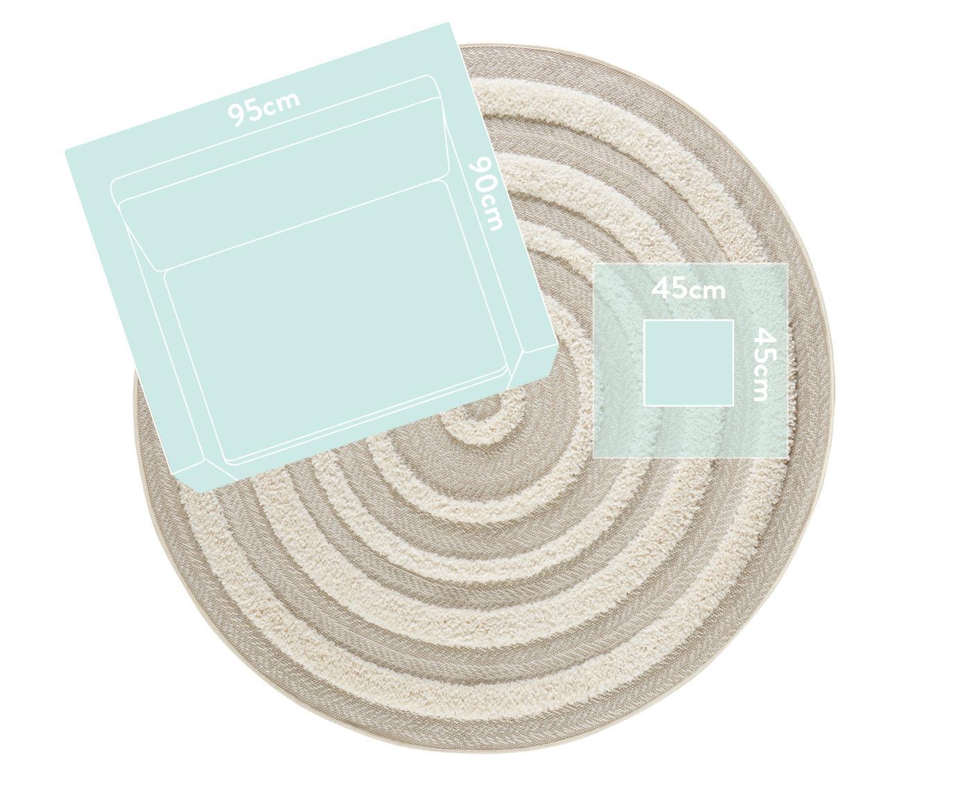 Alfombra redonda texturizada de interior/exterior Nador, Beige, crema, Ø 160 cm (Tamaño L)
