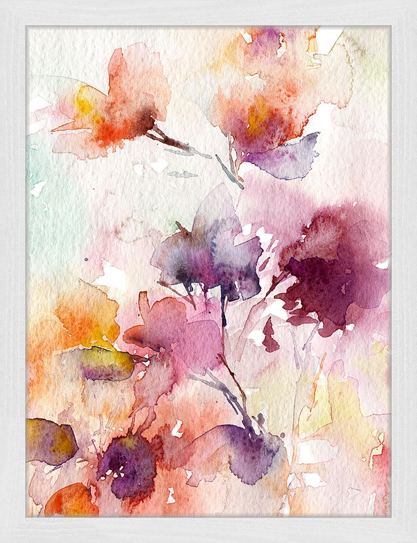 Gerahmter Digitaldruck Abstract Flowers, Bild: Digitaldruck auf Papier, , Rahmen: Holz, lackiert, Front: Plexiglas, Mehrfarbig, 33 x 43 cm