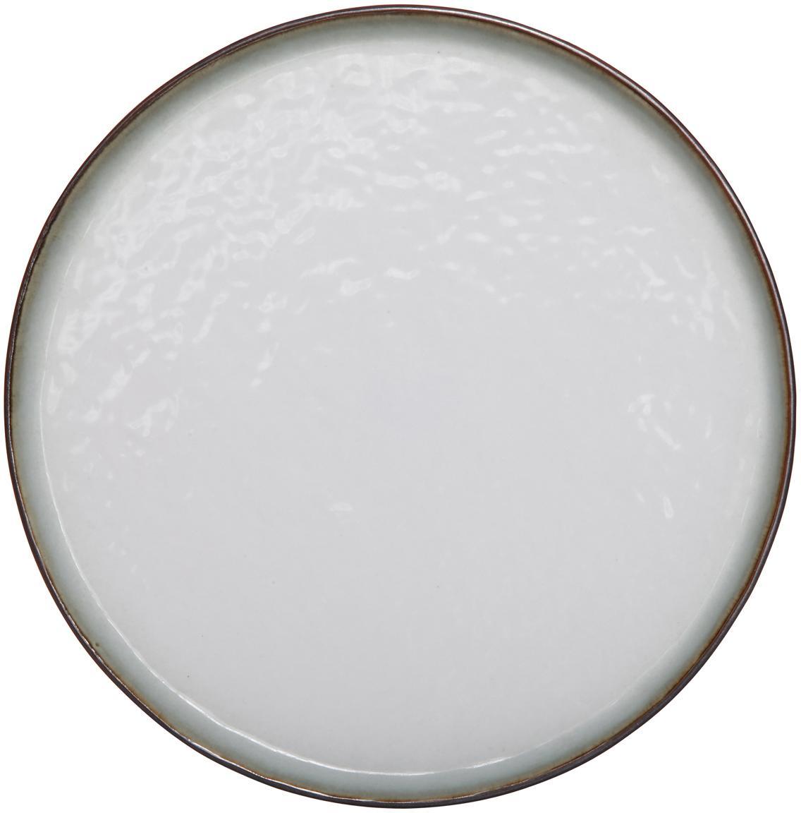 Steingut-Frühstücksteller Plato, 6 Stück, Steingut, Braun, Weiß, Ø 22 cm