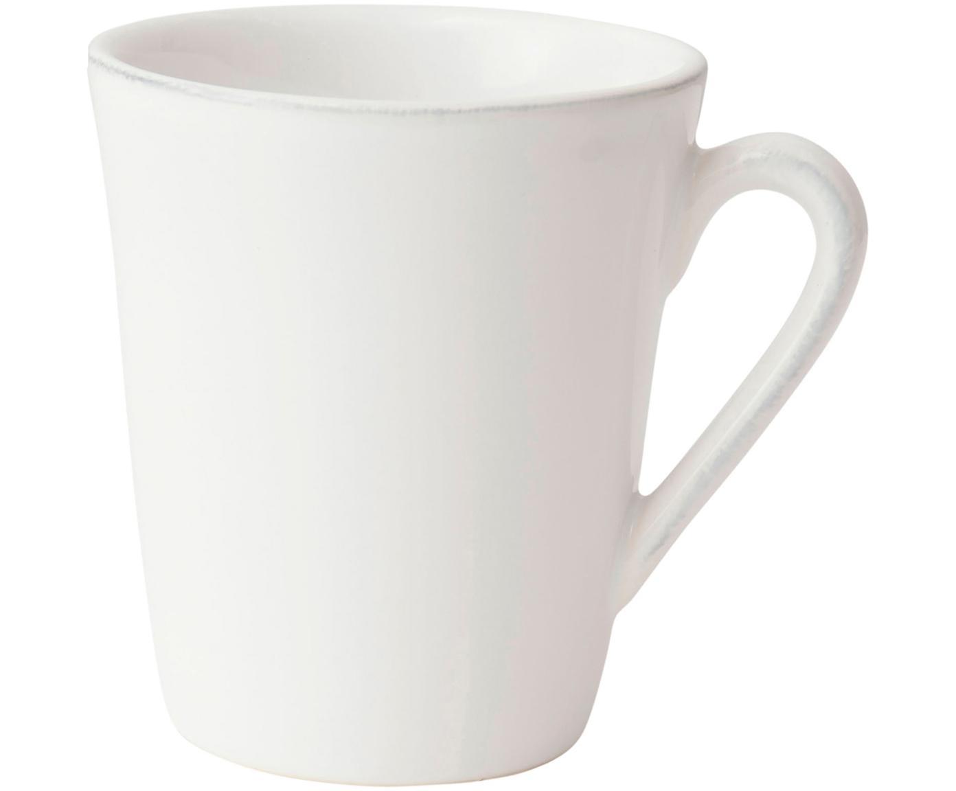 Tassen Constance im Landhaus Style, 2 Stück, Steingut, Weiß, Ø 9 x H 10 cm
