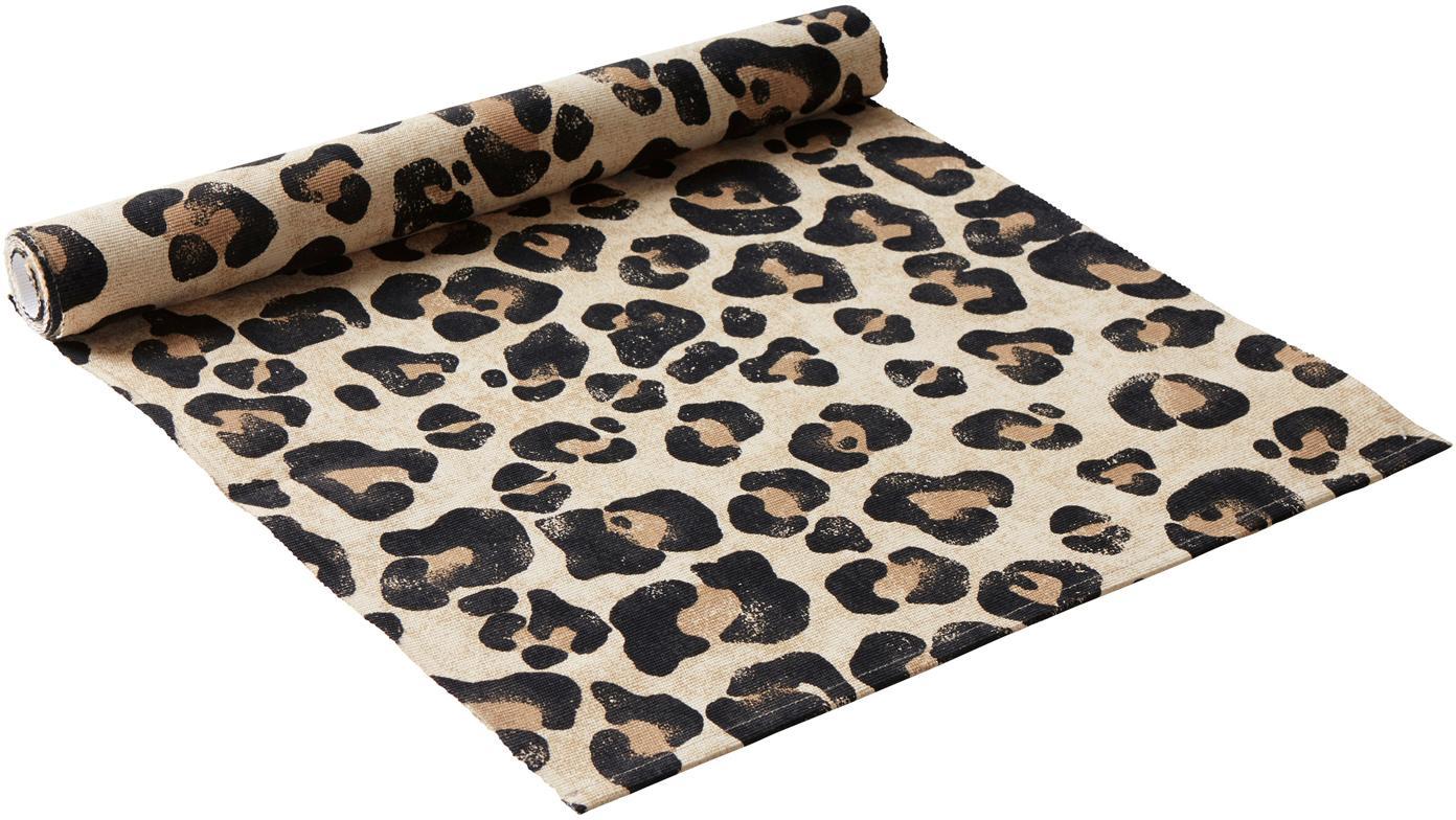 Tischläufer Jill mit Leoparden-Print, Baumwolle, Beige, Schwarz, 40 x 140 cm