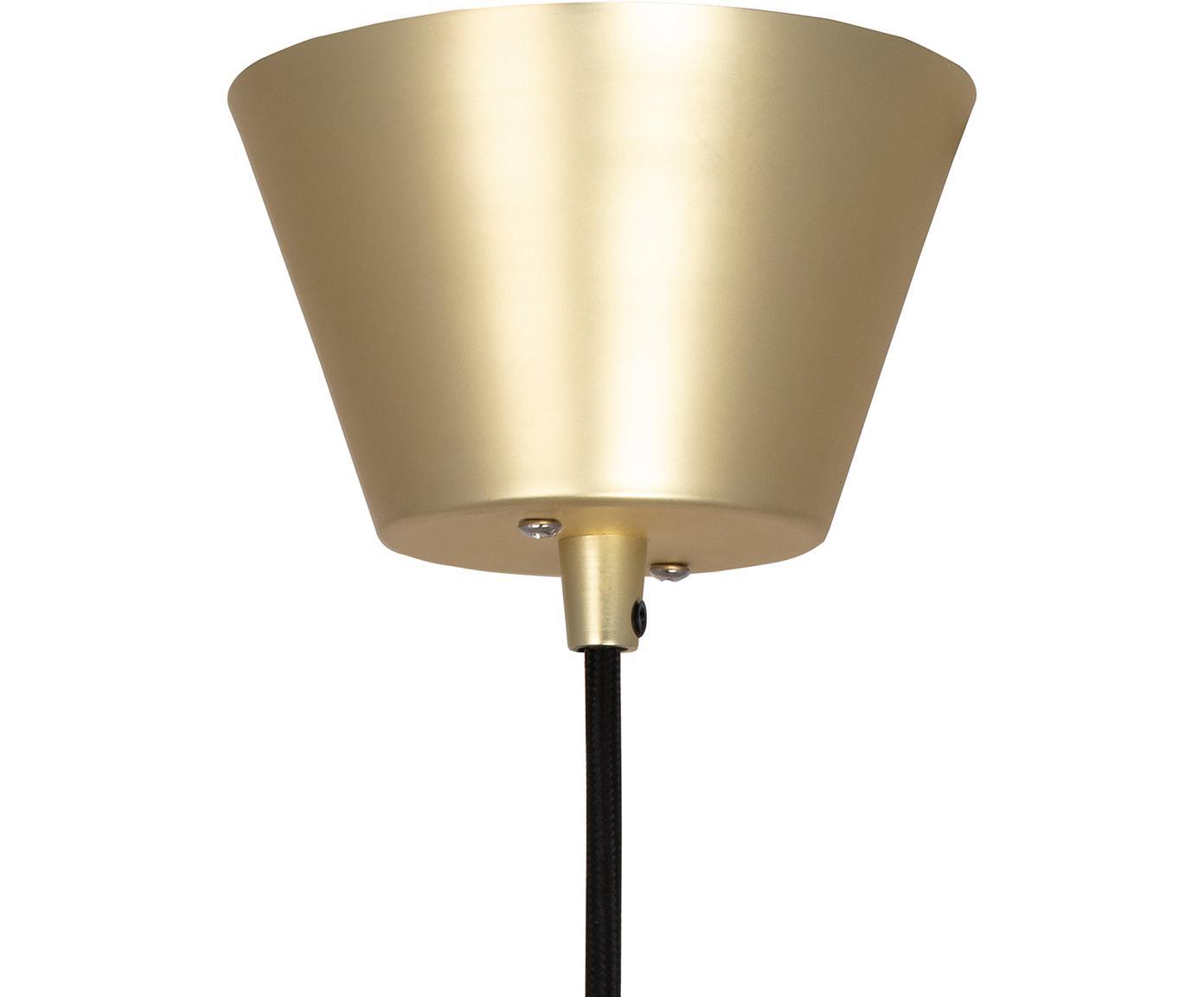 Hanglamp Ray, Lampenkap: vermessingd en geborsteld, Baldakijn: gelakt metaal, Geborsteld messingkleurig, Ø 45 x H 25 cm