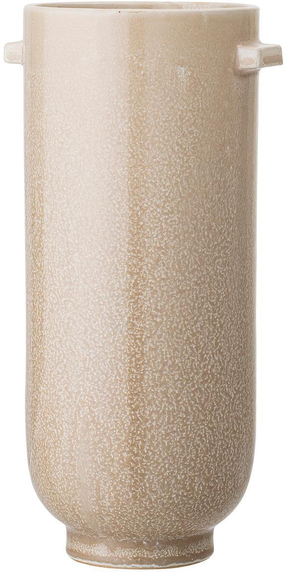 Handgefertigte Deko-Vase Lena aus Steingut, Steingut, Beige, Ø 13 x H 26 cm