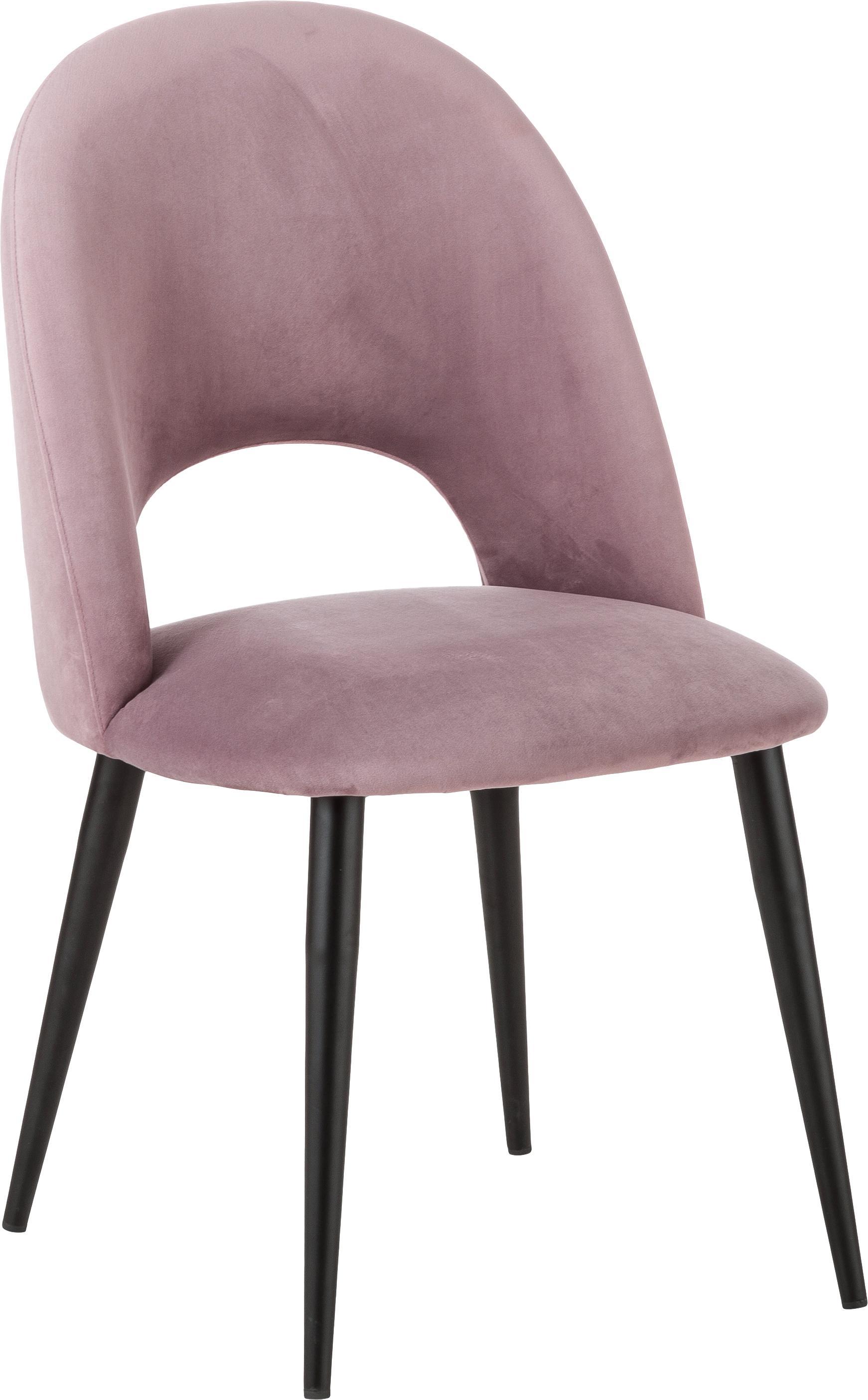 Fluwelen stoel Rachel, Bekleding: fluweel (hoogwaardige pol, Poten: gepoedercoat metaal, Fluweel mauve, B 53 x D 57 cm