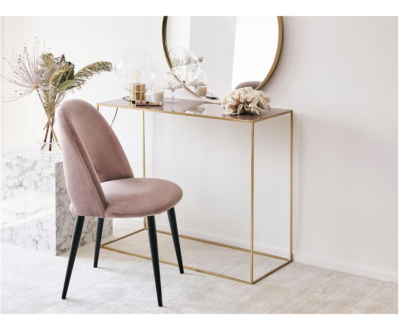 Fluwelen stoel Rachel, Bekleding: fluweel (hoogwaardige pol, Poten: gepoedercoat metaal, Roze, B 53 x D 57 cm