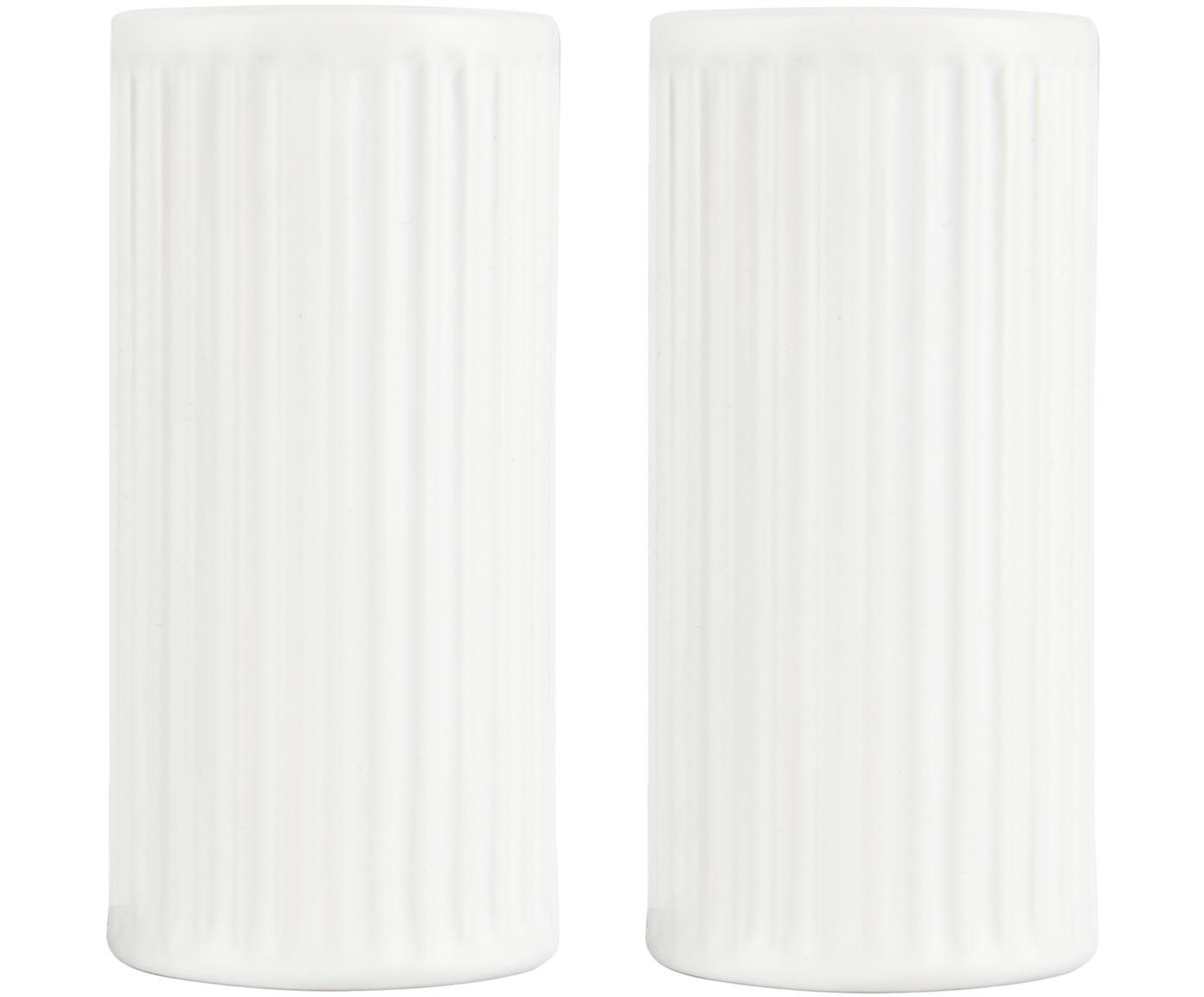Weiße Salz- und Pfefferstreuer Groove mit Rillenstruktur, 2er-Set, Steingut, Weiß, Ø 5 x H 9 cm