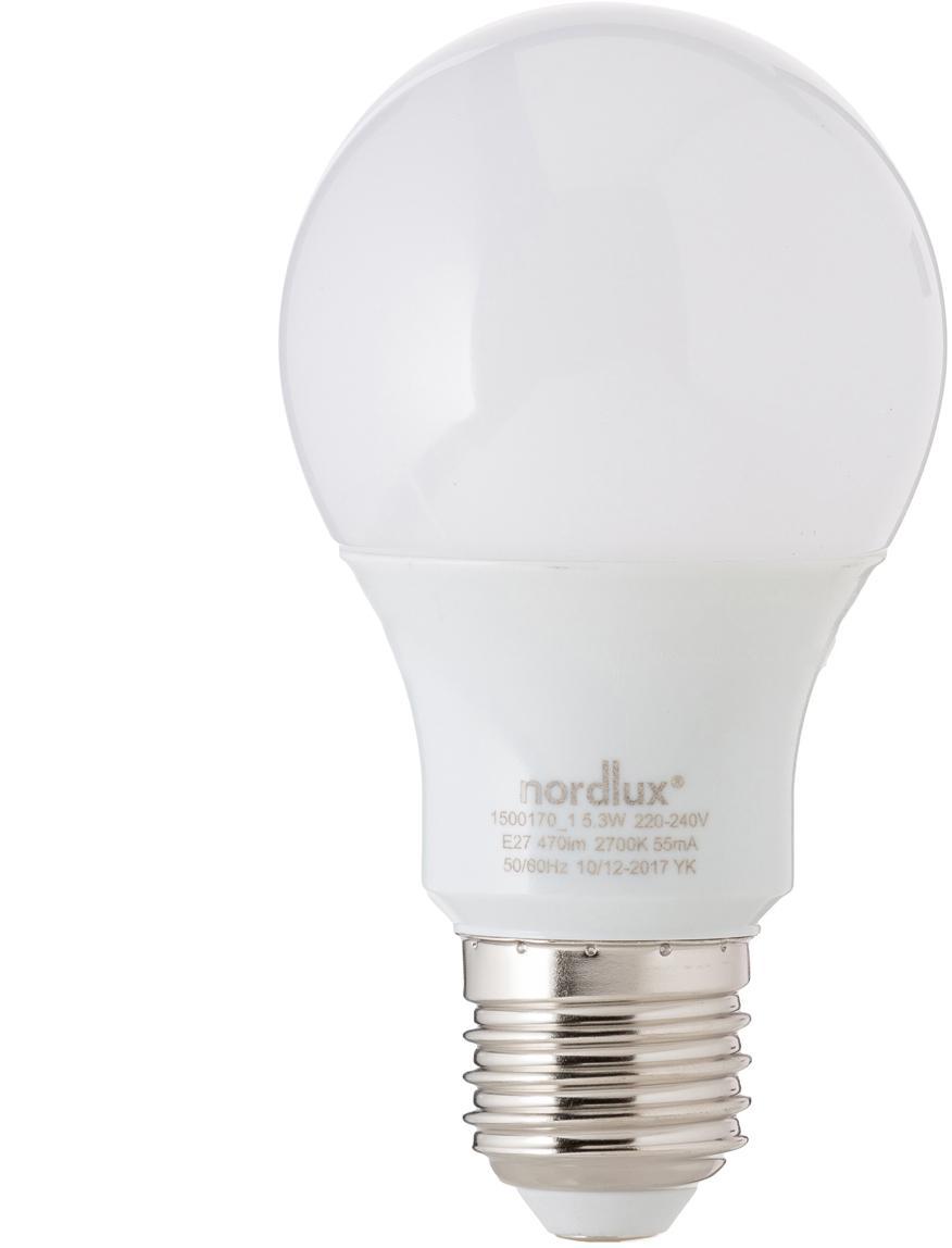 Lampadina a LED Morning (E27 / 5Watt), Paralume: vetro opale, Base lampadina: alluminio, Bianco, Ø 7 x Alt. 11 cm