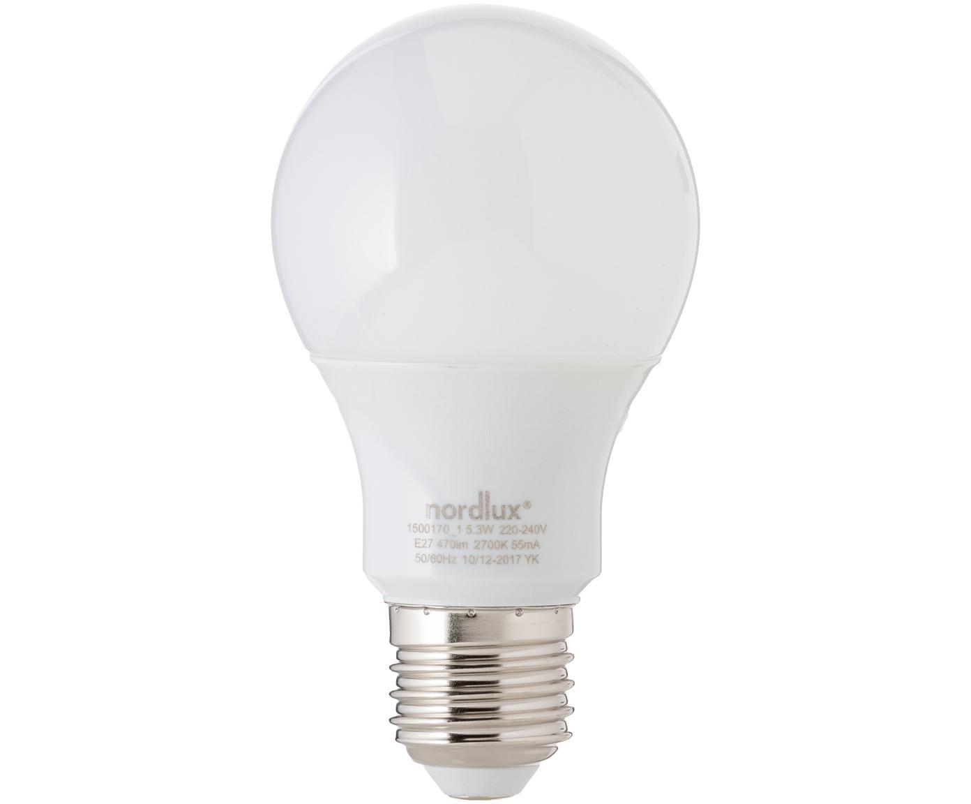 Bombilla LED Morning (E27/5W), Ampolla: vidrio opalino, Casquillo: aluminio, Blanco, Ø 7 x Al 11 cm