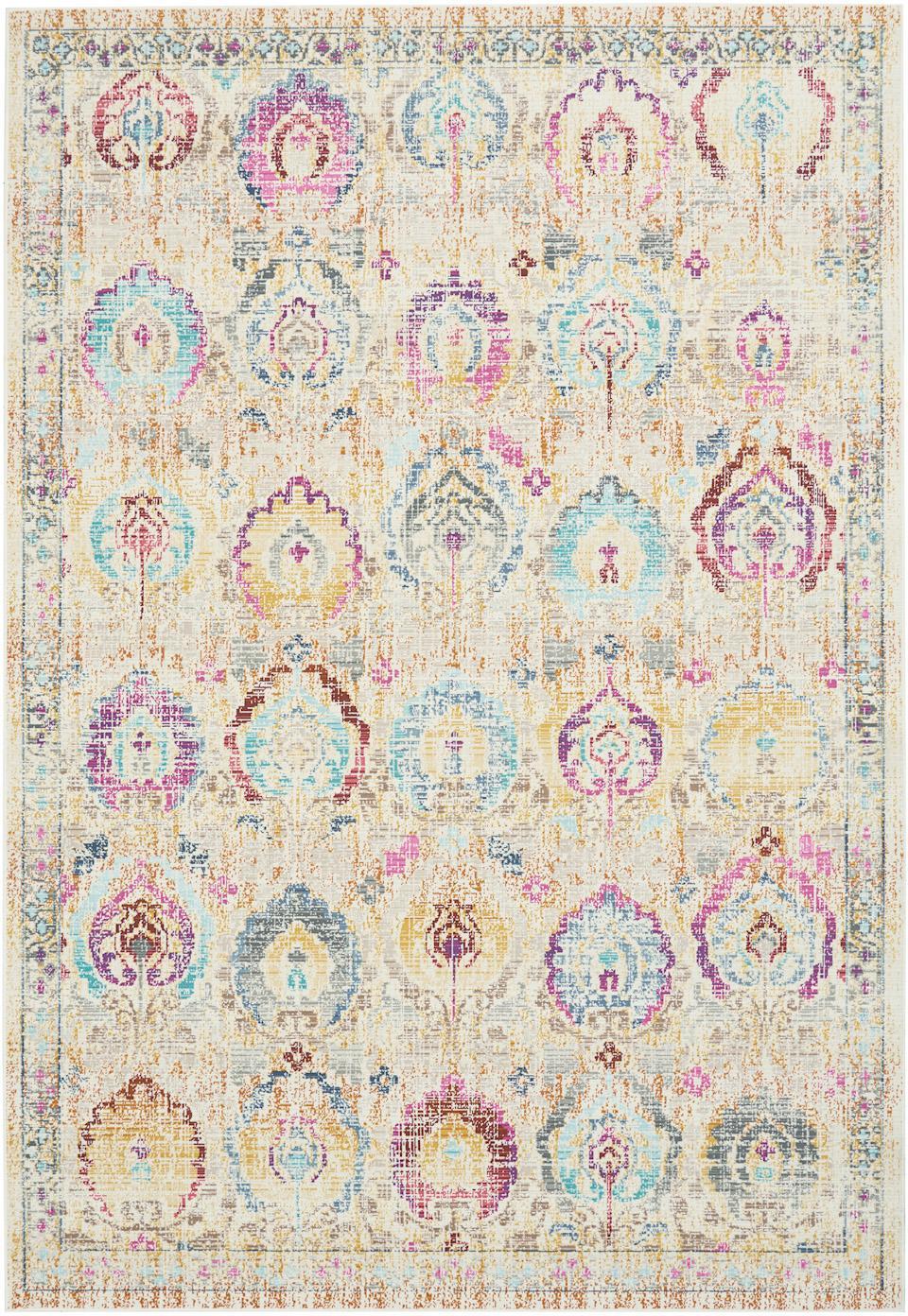 Dywan z niskim stosem Kashan Vintage, Beżowy, wielobarwny, S 120 x D 180 cm (Rozmiar S)