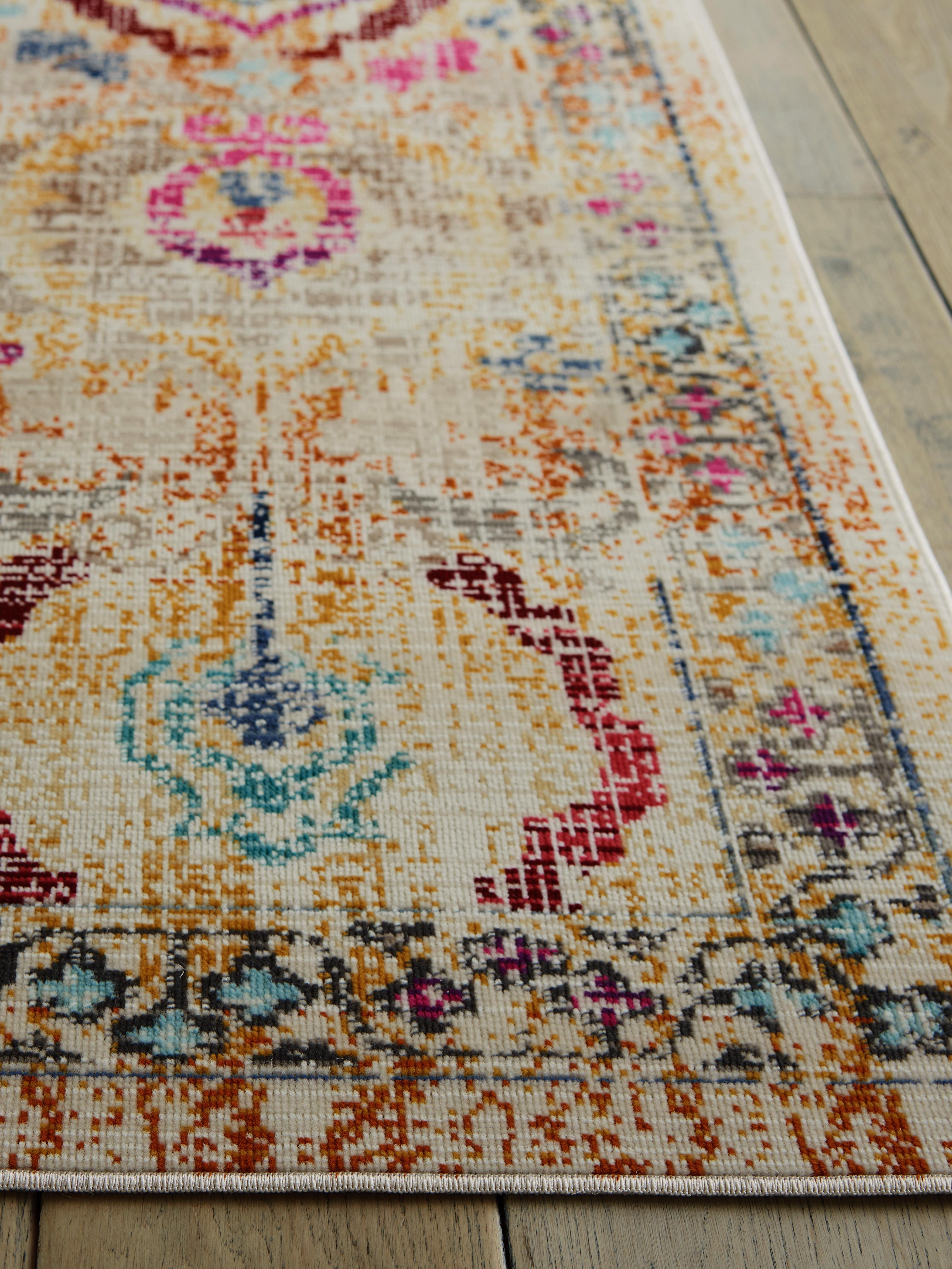 Laagpolig vloerkleed Kashan Vintage met gekleurde ornamenten, Bovenzijde: 100% polypropyleen, Onderzijde: latex, Beige, multicolour, B 240 x L 300 cm (maat L)