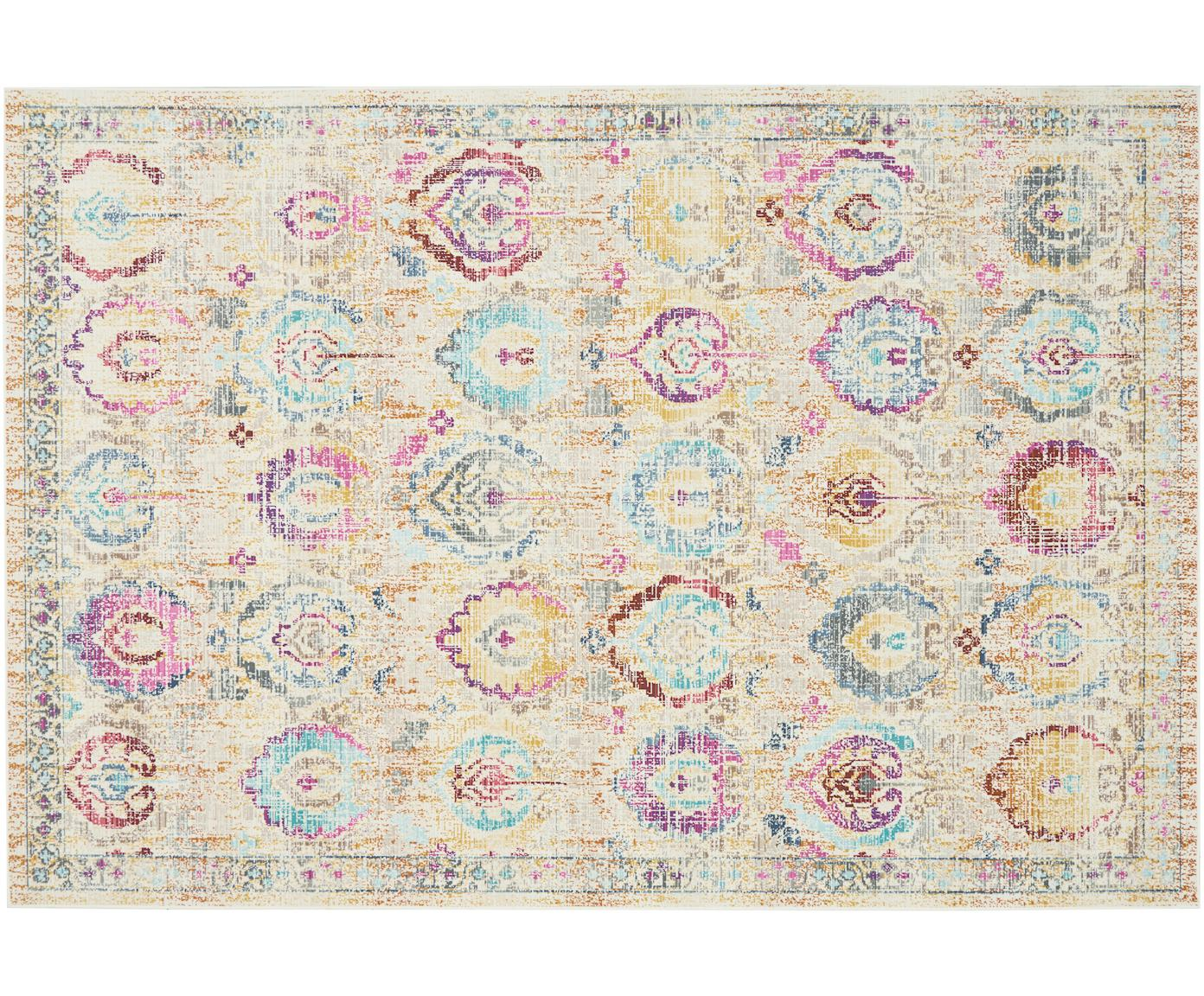 Alfombra de pelo corto Kashan, estilo vintage, Parte superior: 100%polipropileno, Reverso: látex, Beige, multicolor, An 120 x L 180 cm (Tamaño S)