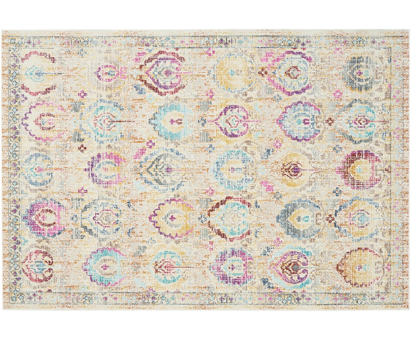 Laagpolig vloerkleed Kashan Vintage, Bovenzijde: polypropyleen, Onderzijde: latex, Beige, multicolour, B 120 x L 180 cm (maat S)