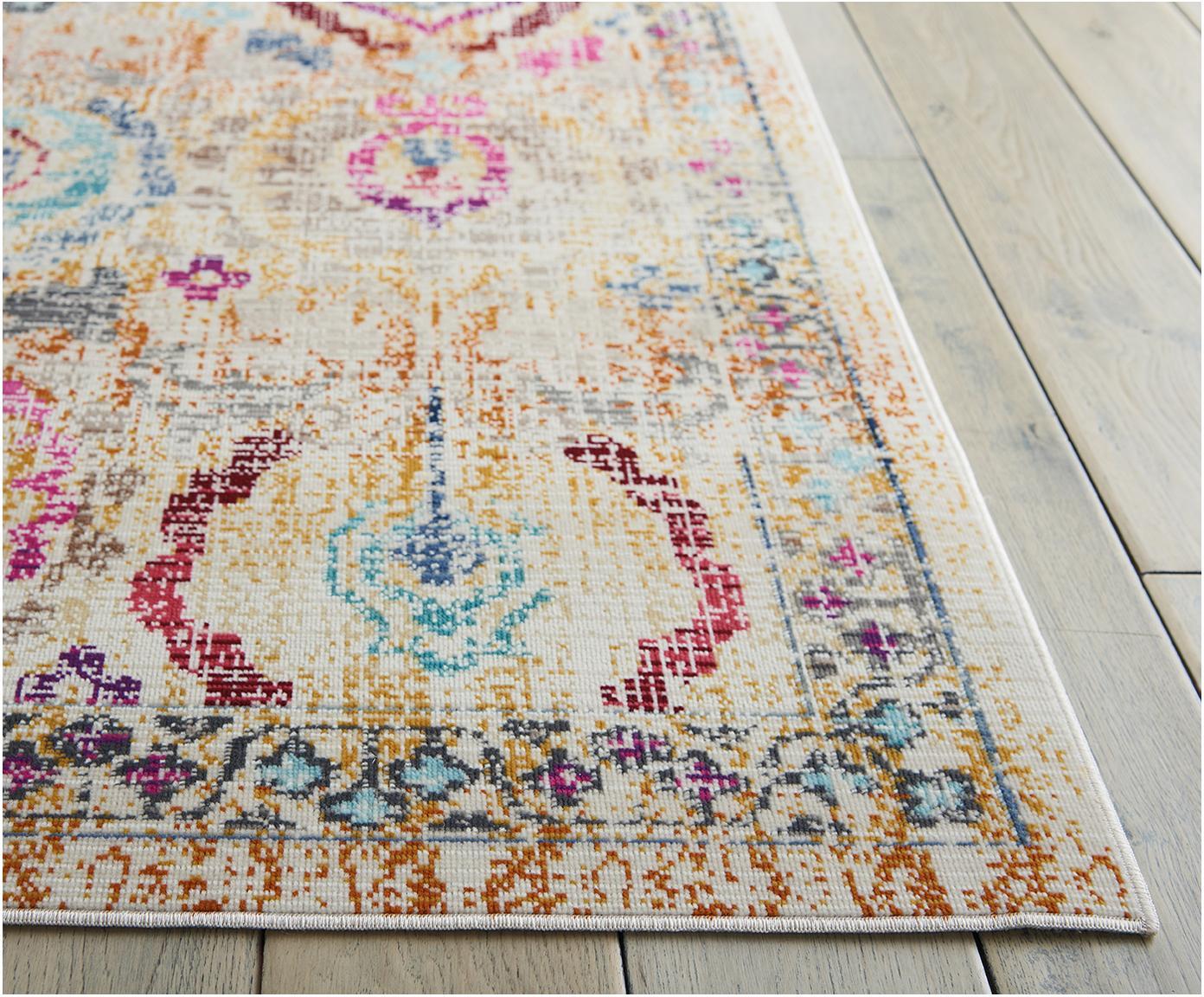 Laagpolig vloerkleed Kashan Vintage, Bovenzijde: polypropyleen, Onderzijde: latex, Beige, multicolour, B 240 x L 300 cm (maat L)